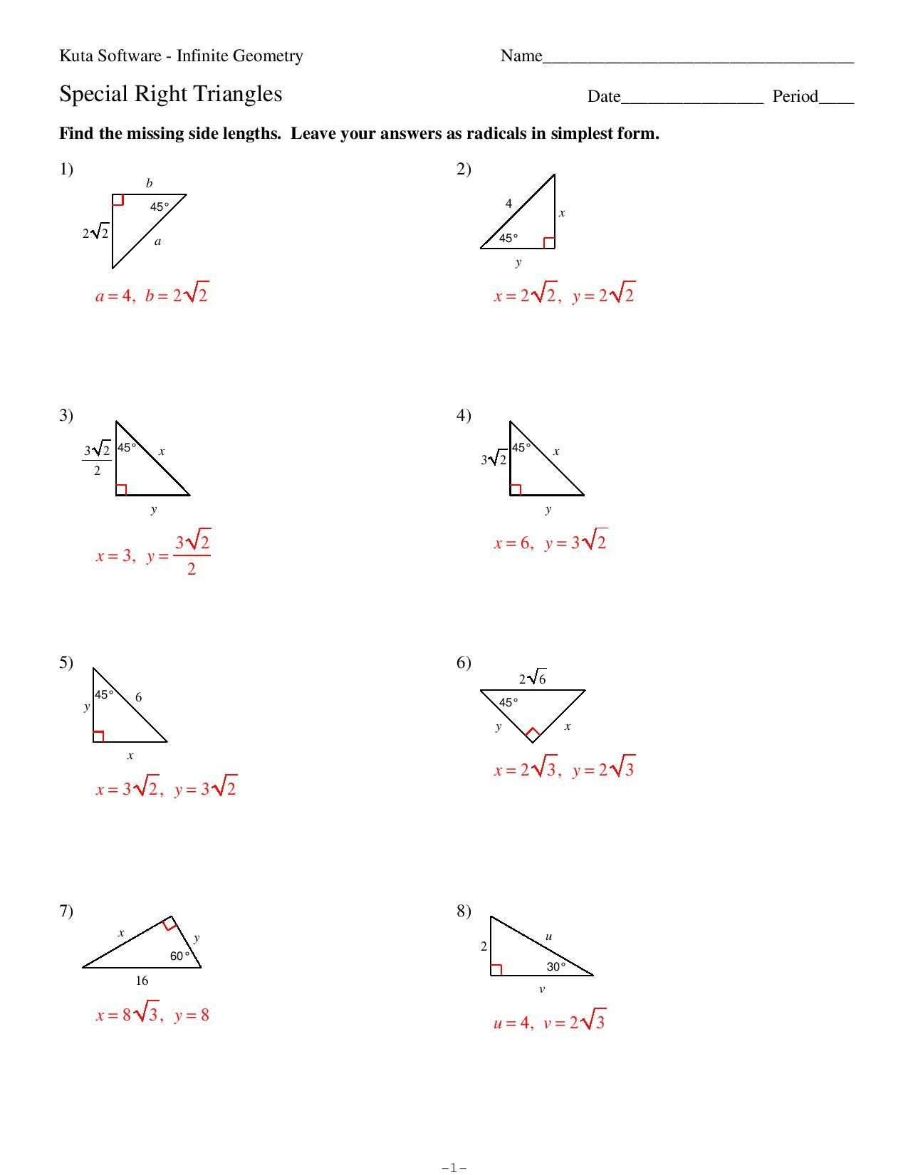 Special Right Triangles Practice Worksheet Test 3 Pg 11 Answers