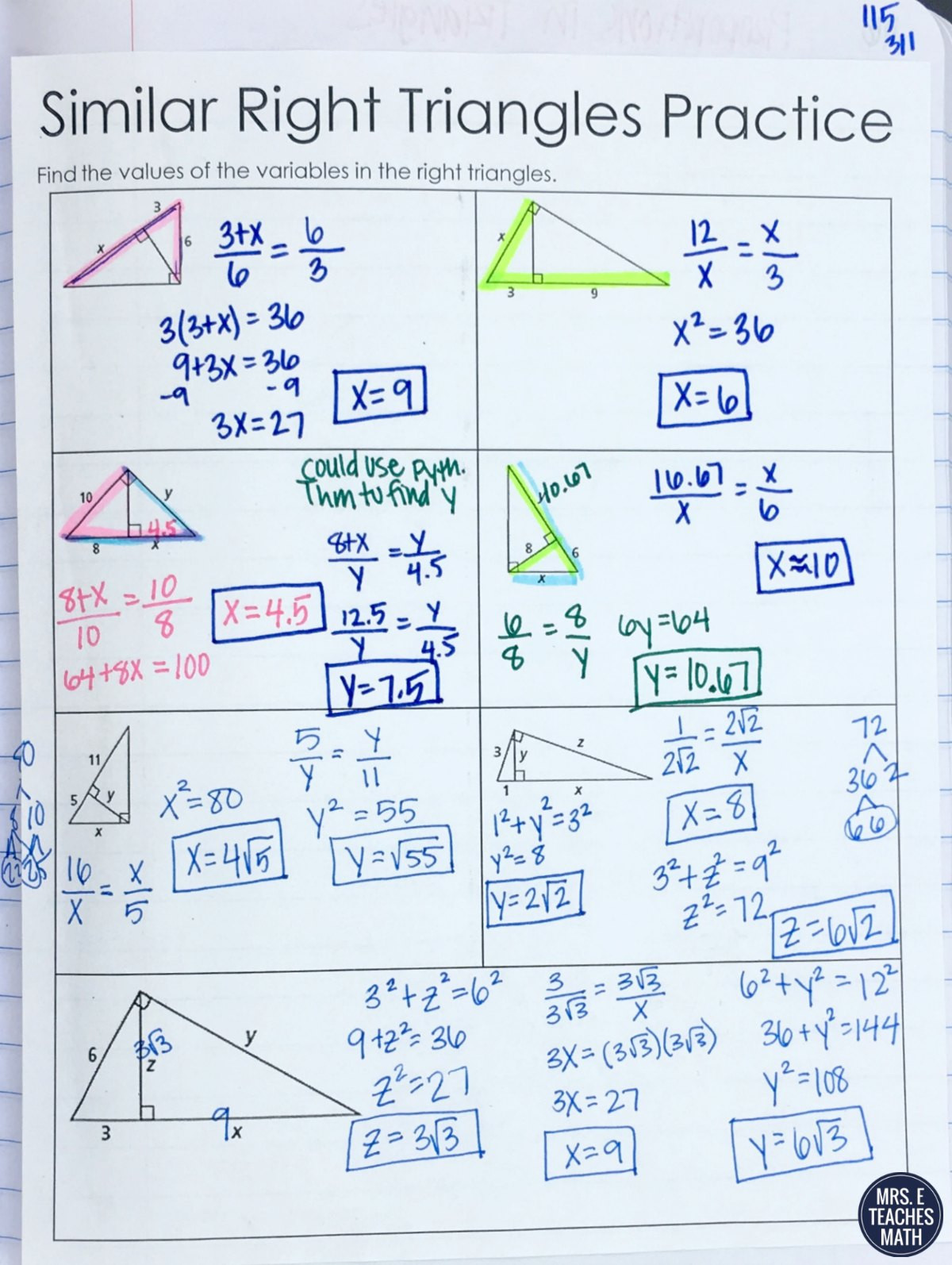 Special Right Triangles Practice Worksheet Triangle Similarity Inb Pages