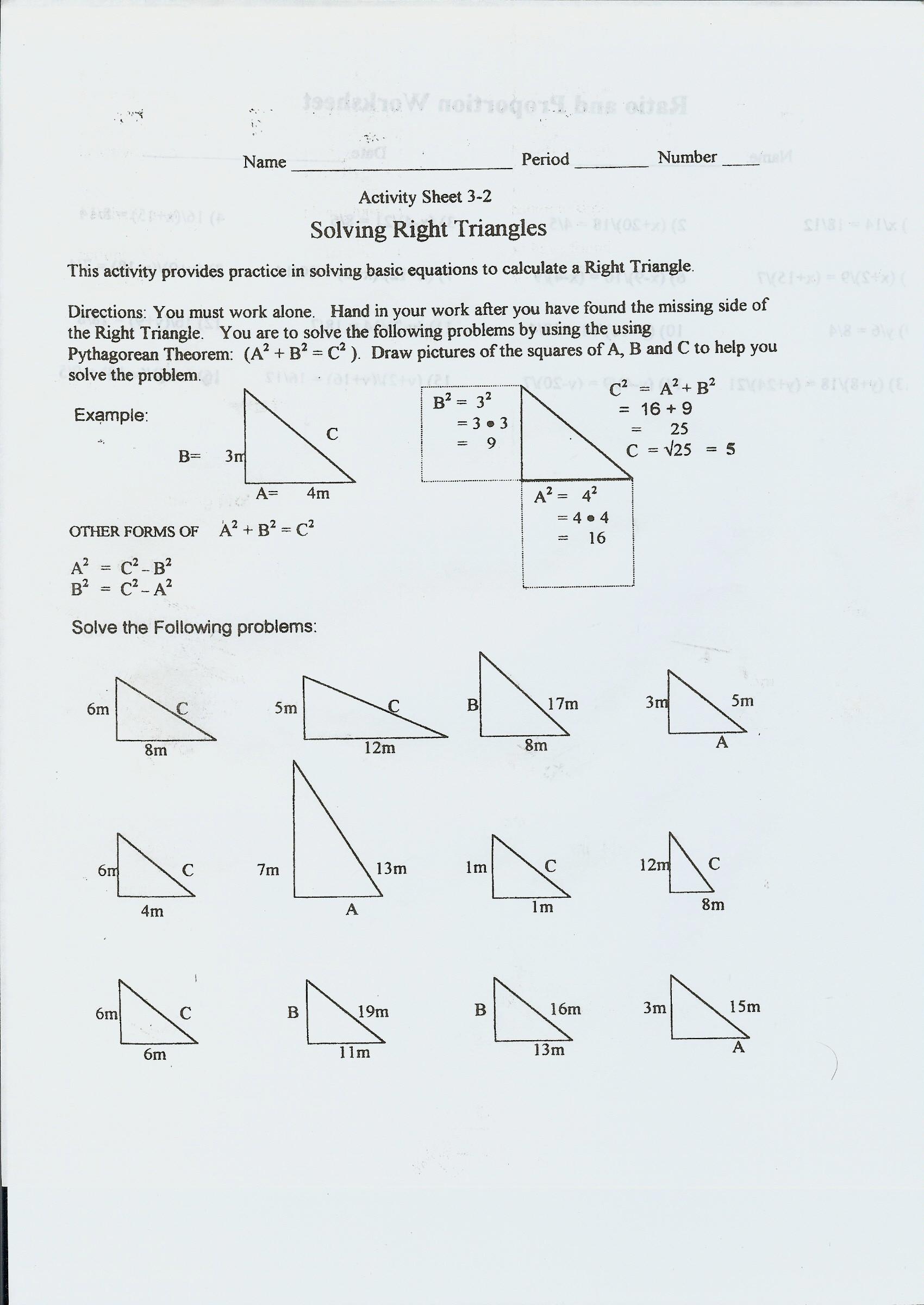 Special Right Triangles Practice Worksheet Wisniewski Boyd Wel E