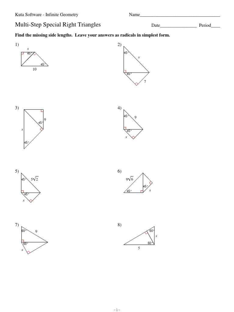 Special Right Triangles Worksheet 8 Multi Step Special Right Triangles