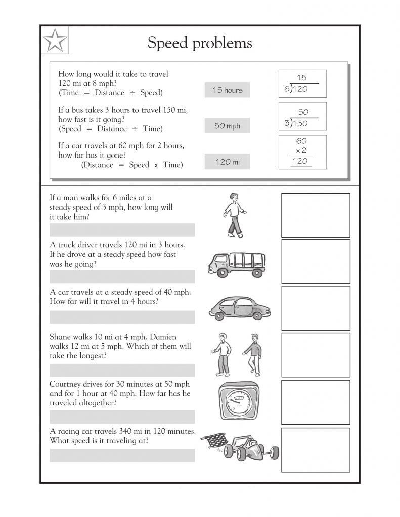 Speed Practice Problems Worksheet 4th Grade Math Word Problems Best Coloring Pages for Kids