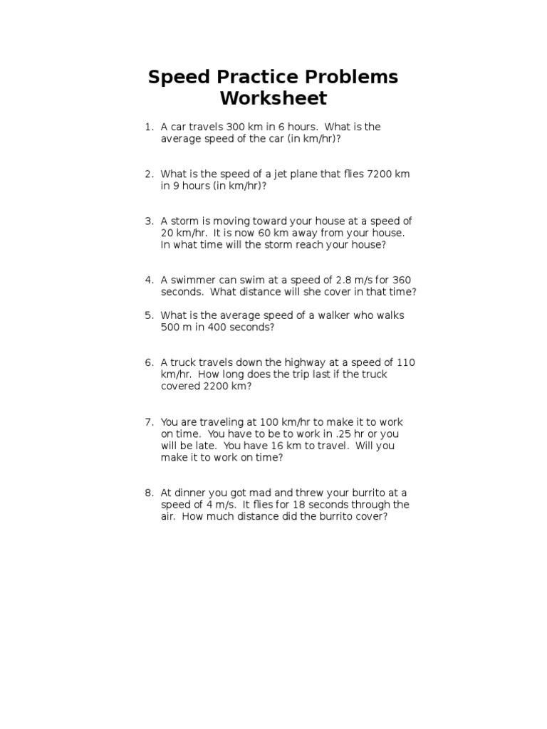 Speed Practice Problems Worksheet Speed Practice 2 Speed
