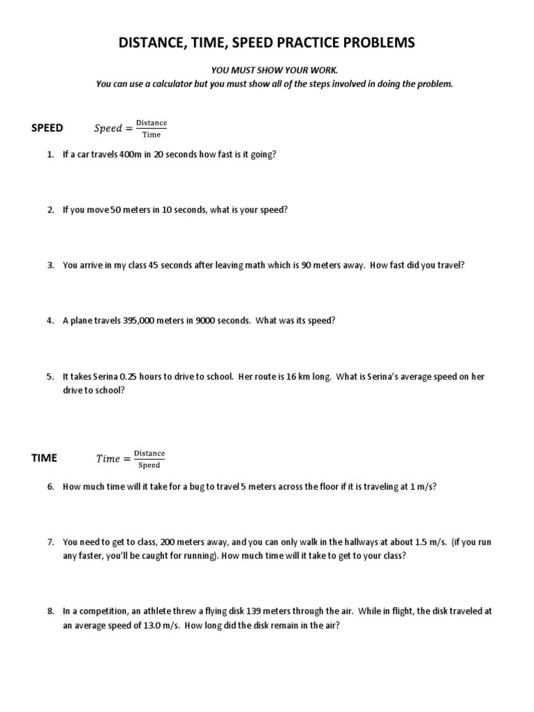 Speed Practice Problems Worksheet Speed Time Distance Calculations Great Intro Classwork
