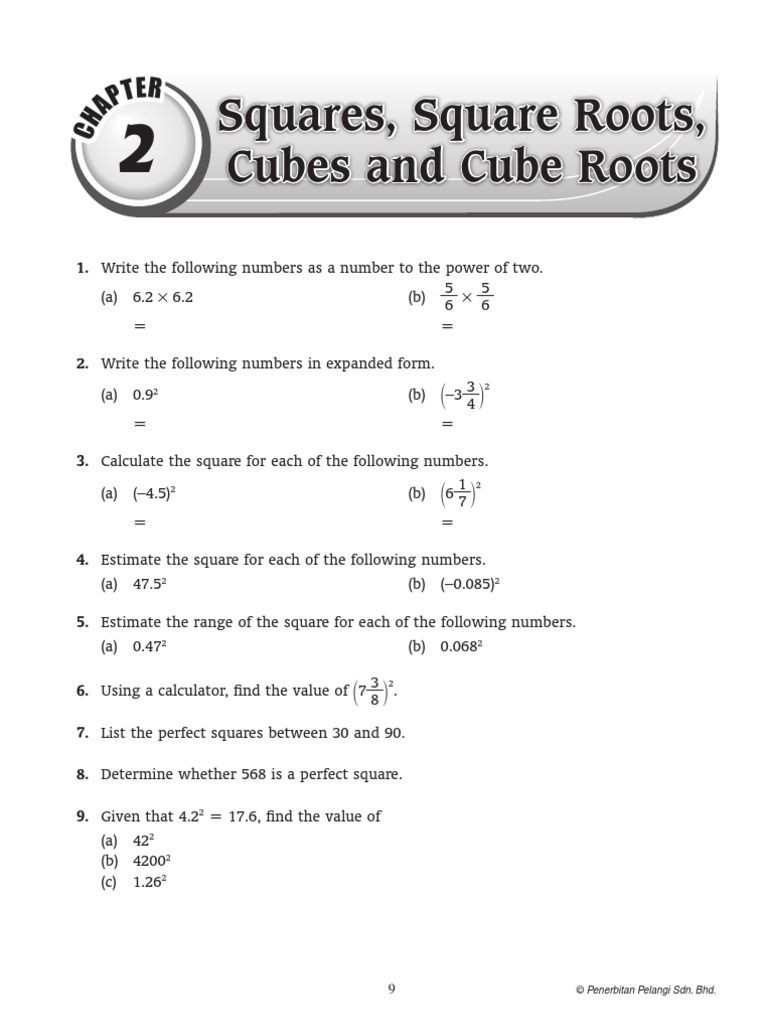 Square and Cube Roots Worksheet Chap 2 T Er Squares Square Roots Cubes and Cube Roots 1