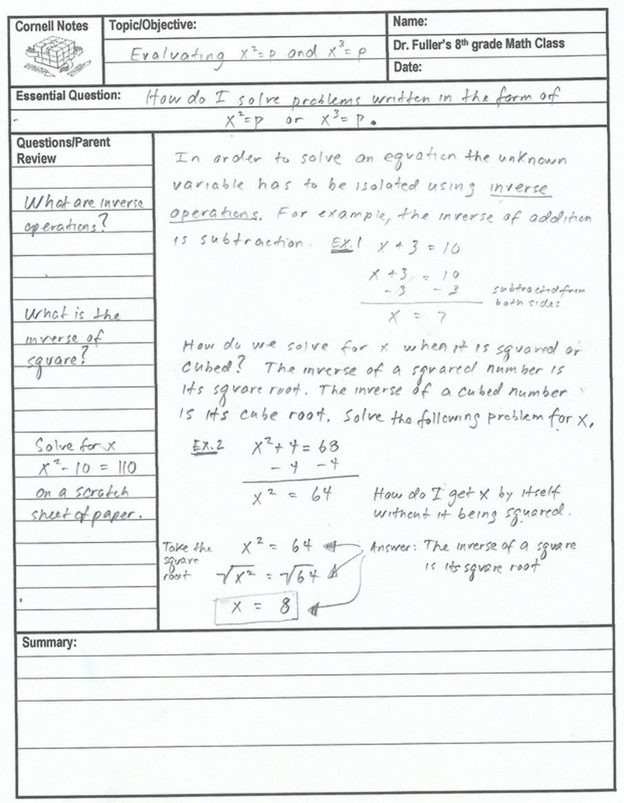 Square and Cube Roots Worksheet solving Cube Root Equations Notes Tessshebaylo