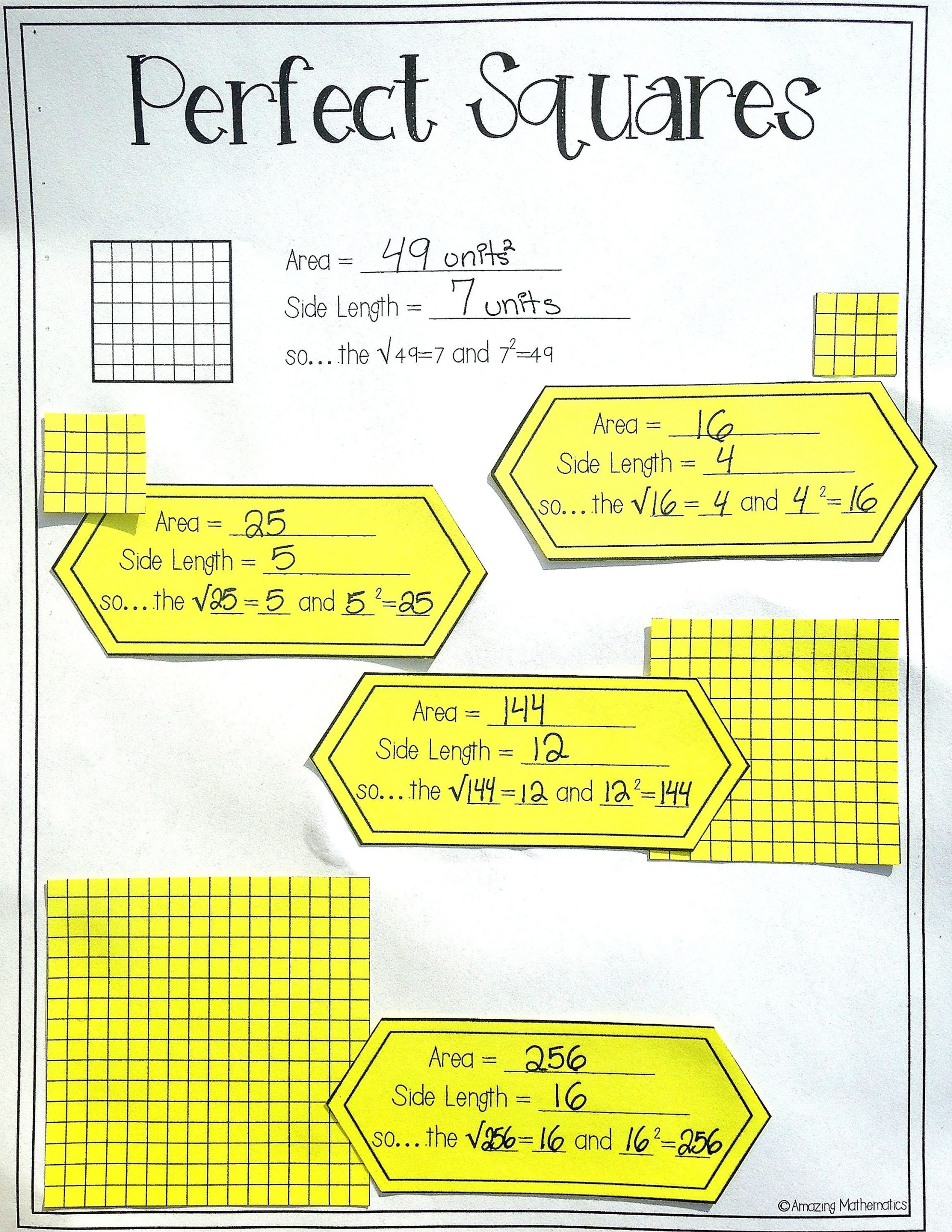 Square Root Worksheet Pdf Square Roots Of Perfect Squares Interactive Notes & Daily