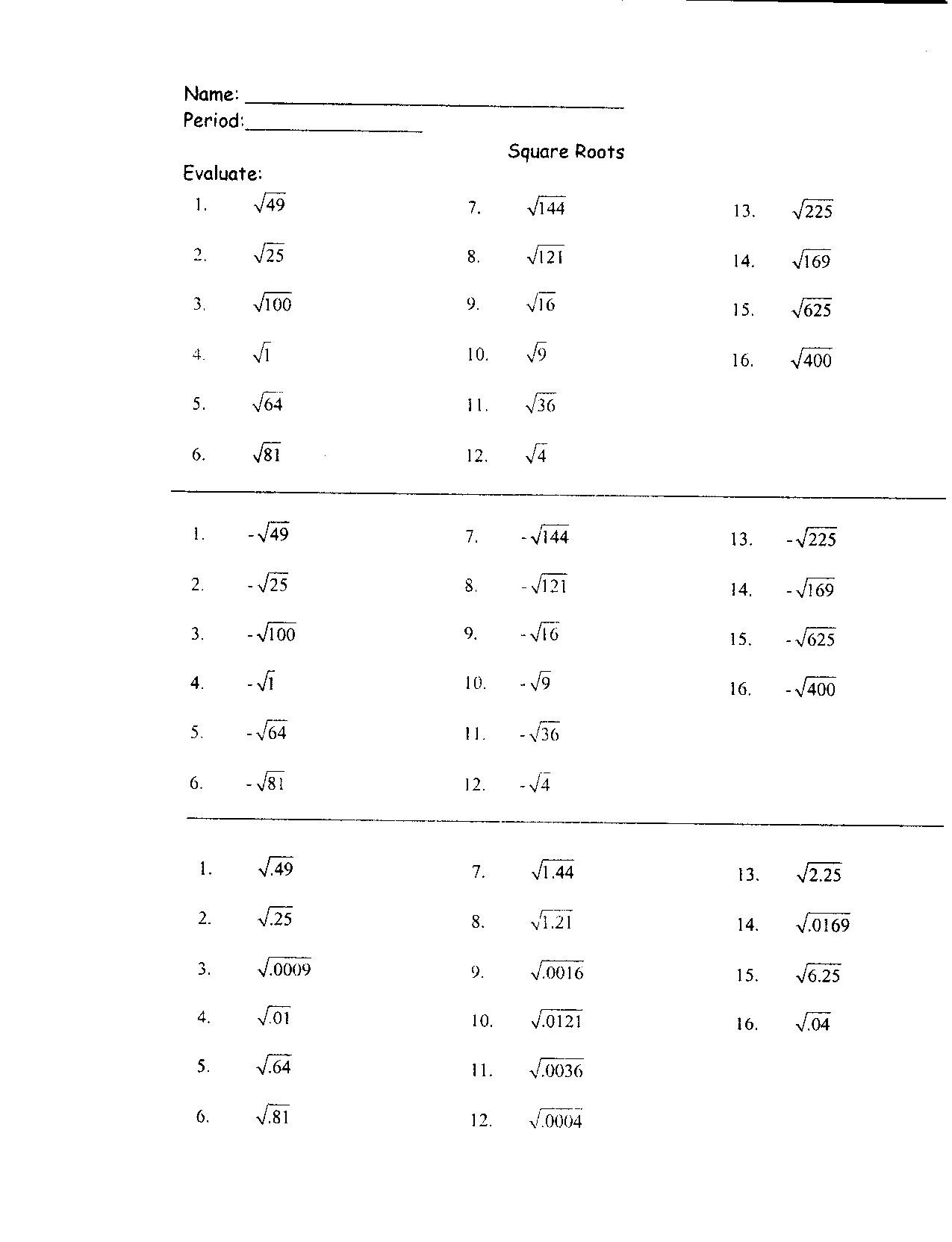 Squares and Square Roots Worksheet 31 Perfect Square Roots Worksheet Worksheet Resource Plans