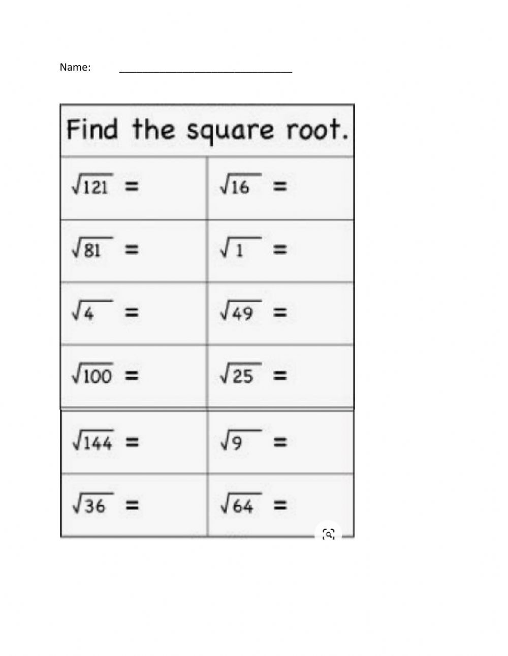 Squares and Square Roots Worksheet Square Roots Interactive Worksheet