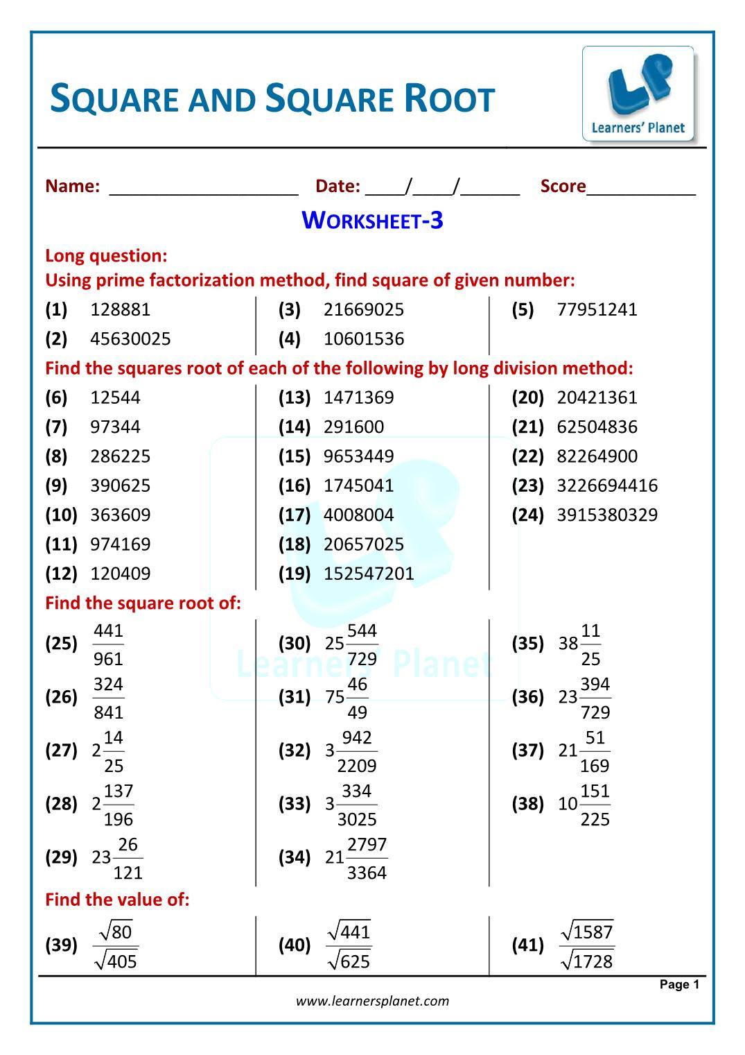 Squares and Square Roots Worksheet Squares and Square Roots Ncert Extra Questions for Class 8 Maths