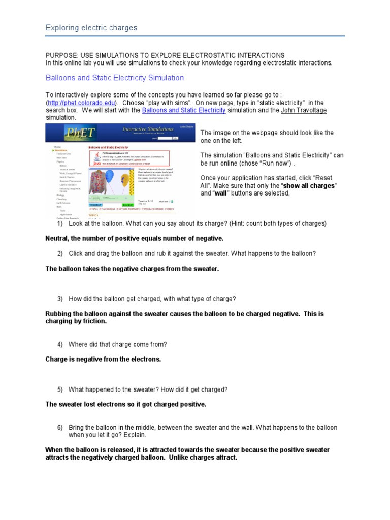 Static Electricity Worksheet Answers Balloon and Travoltage Answers