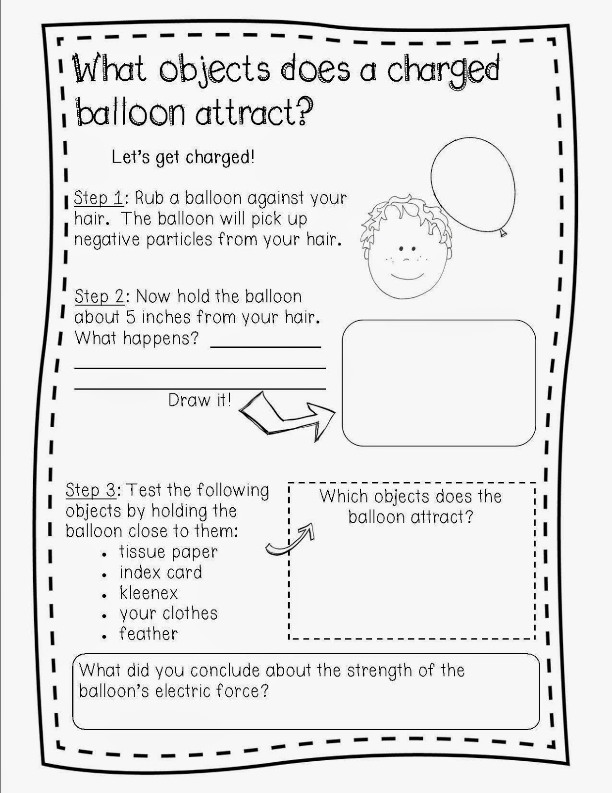 Static Electricity Worksheet Answers Balloon Static Electricity Worksheet