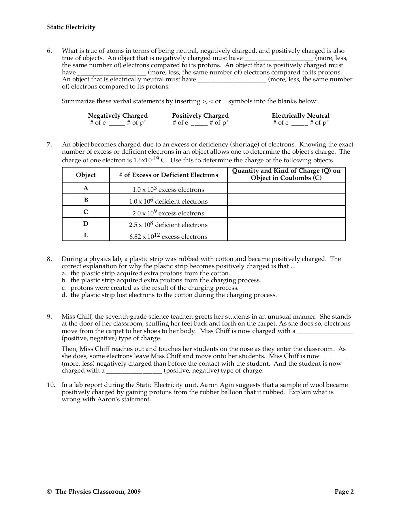 Static Electricity Worksheet Answers Charge Physics Pages 1 18 Text Version