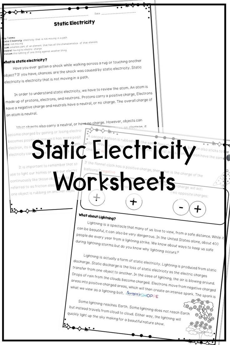 Static Electricity Worksheet Answers Science Worksheets for Grade 2 Electricity