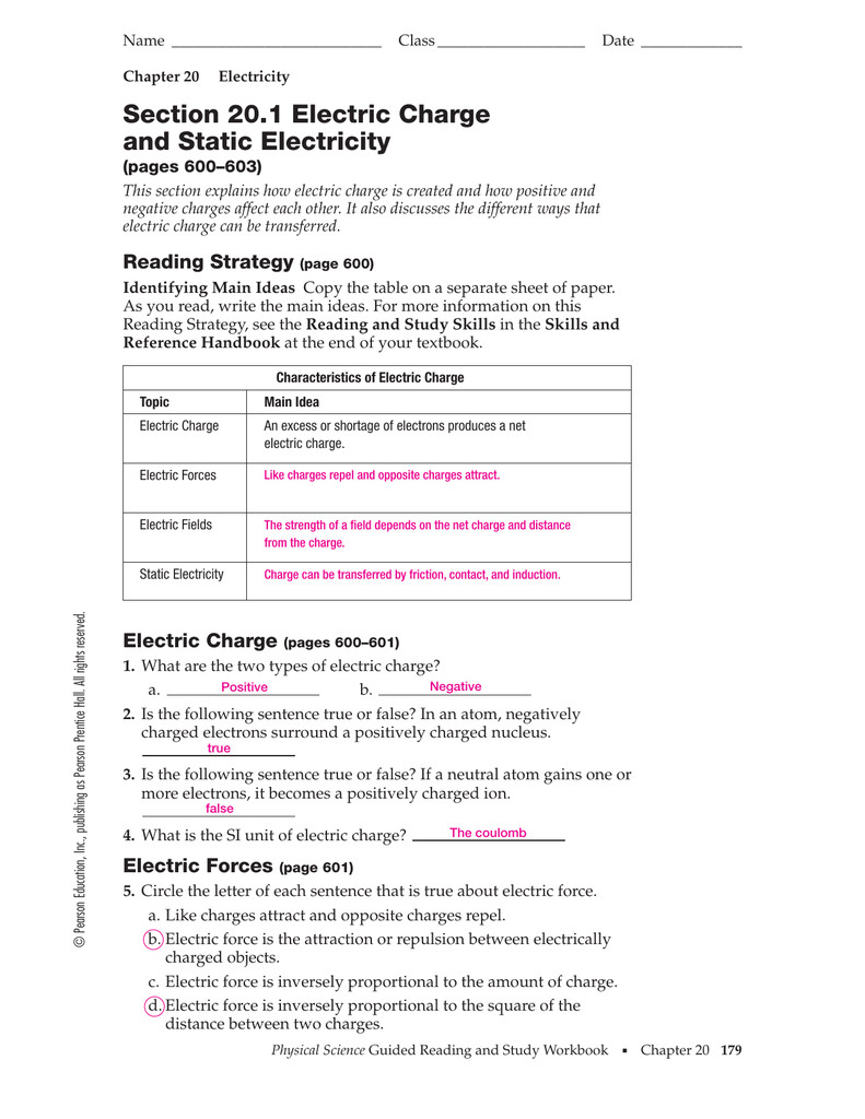 Static Electricity Worksheet Answers Static Electricity Worksheet Search
