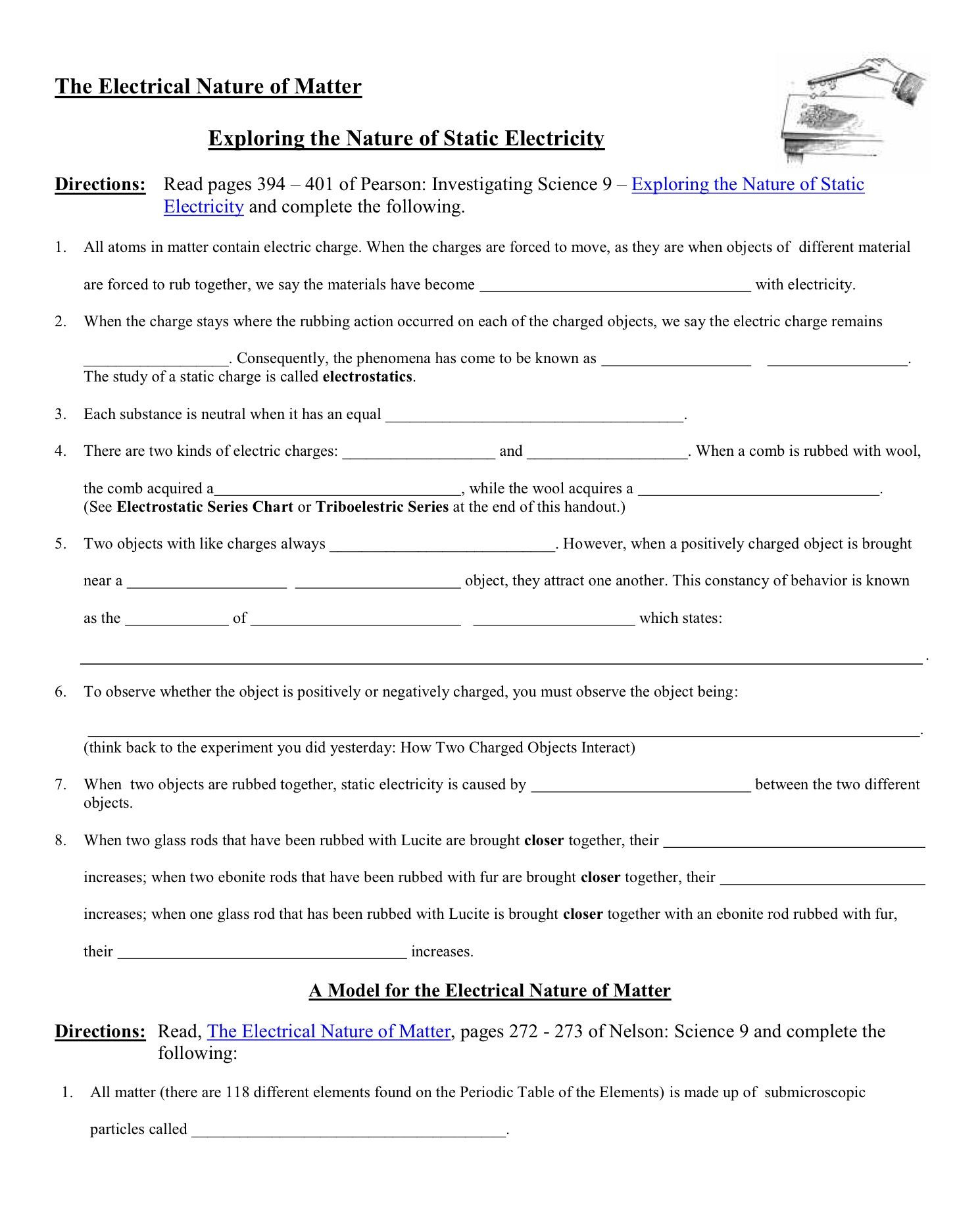 Static Electricity Worksheet Answers the Electrical Nature Of Matter Worksheet November 27 2017