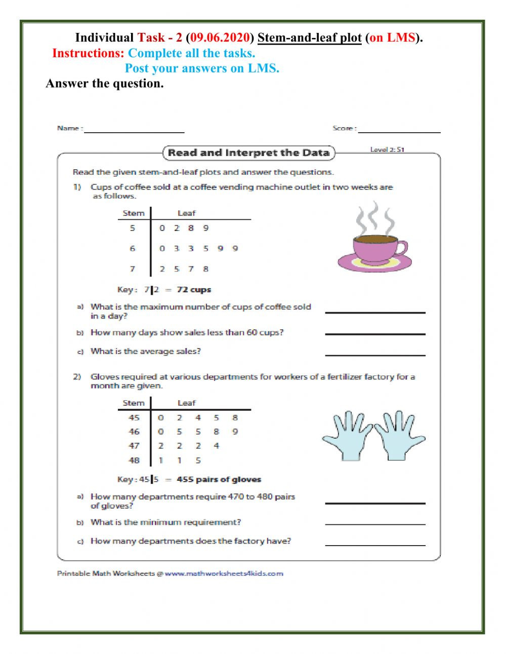 Stem and Leaf Plots Worksheet Slp Interactive Worksheet