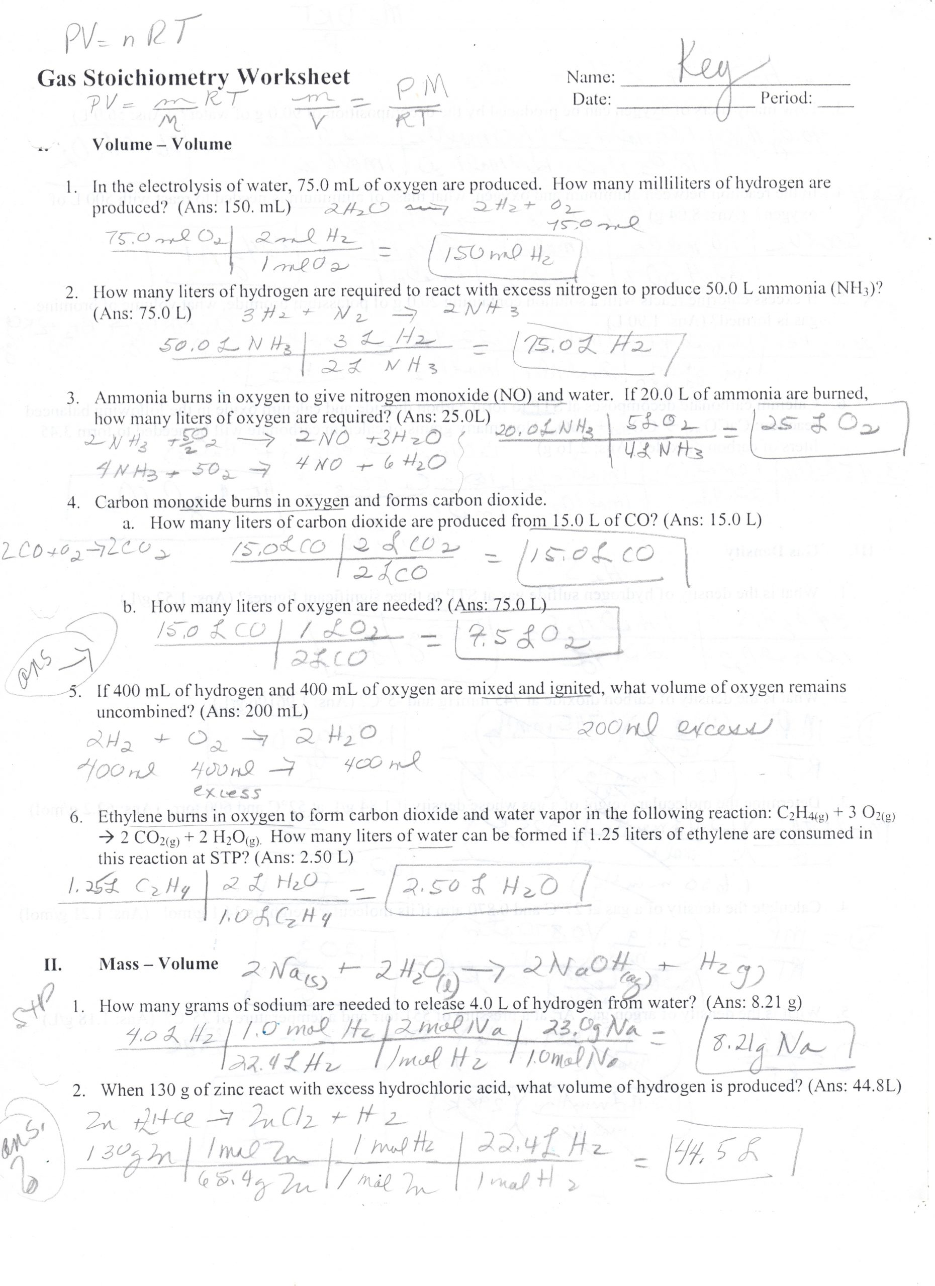 Stoichiometry Worksheet Answer Key 32 Gas Law Stoichiometry Worksheet Worksheet Resource Plans