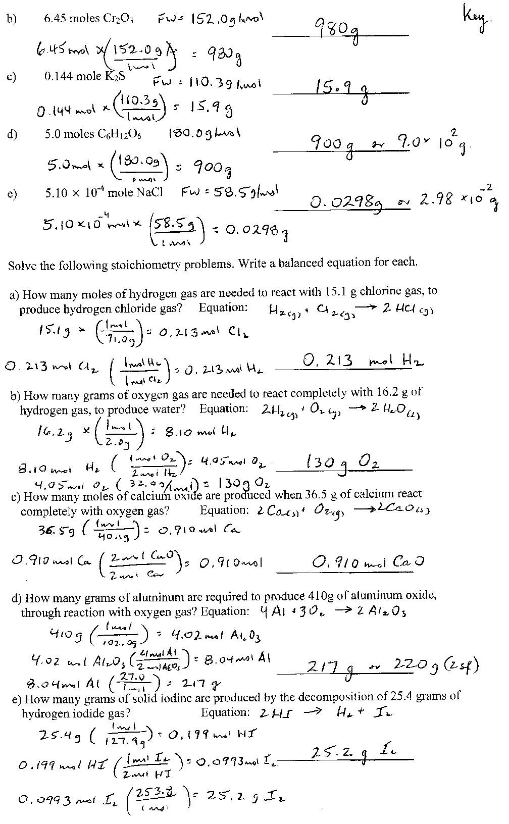 Stoichiometry Worksheet Answer Key Point Grey Secondary School