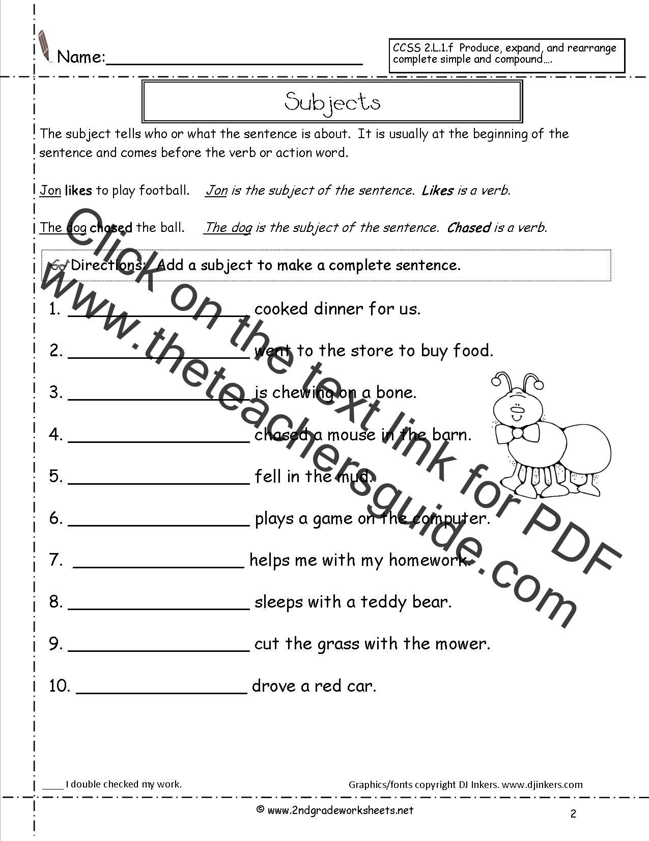 Subject Predicate Worksheet Pdf Second Grade Sentences Worksheets Ccss 2 L 1 F Worksheets