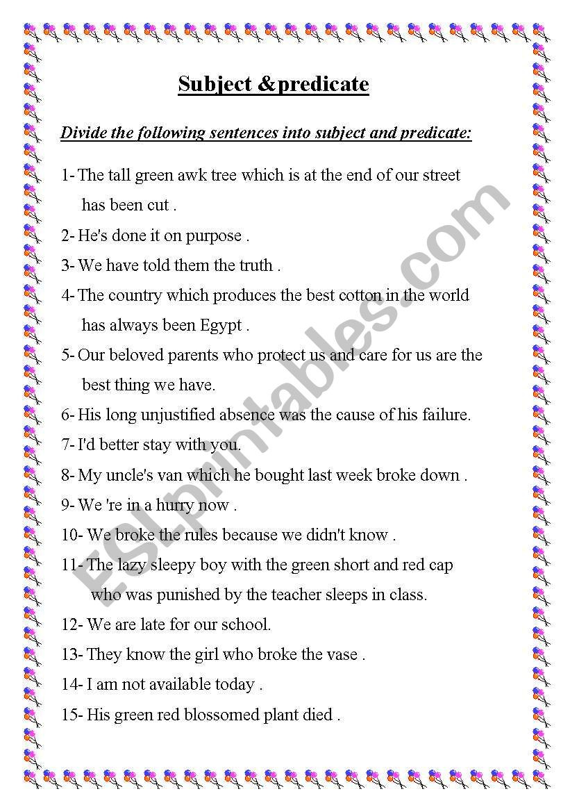Subject Predicate Worksheet Pdf Subject & Predicate Esl Worksheet by Ayaat