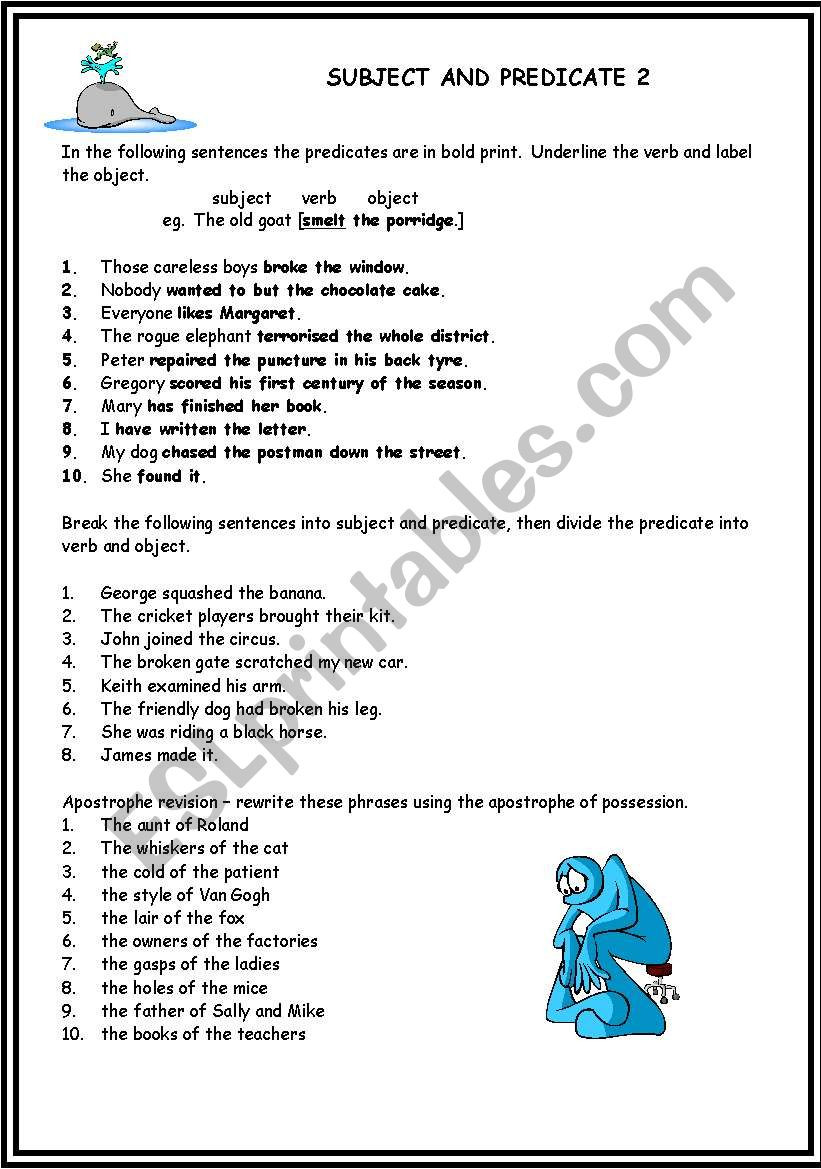 Subject Predicate Worksheet Pdf Subject and Predicate 2 Esl Worksheet by Gark