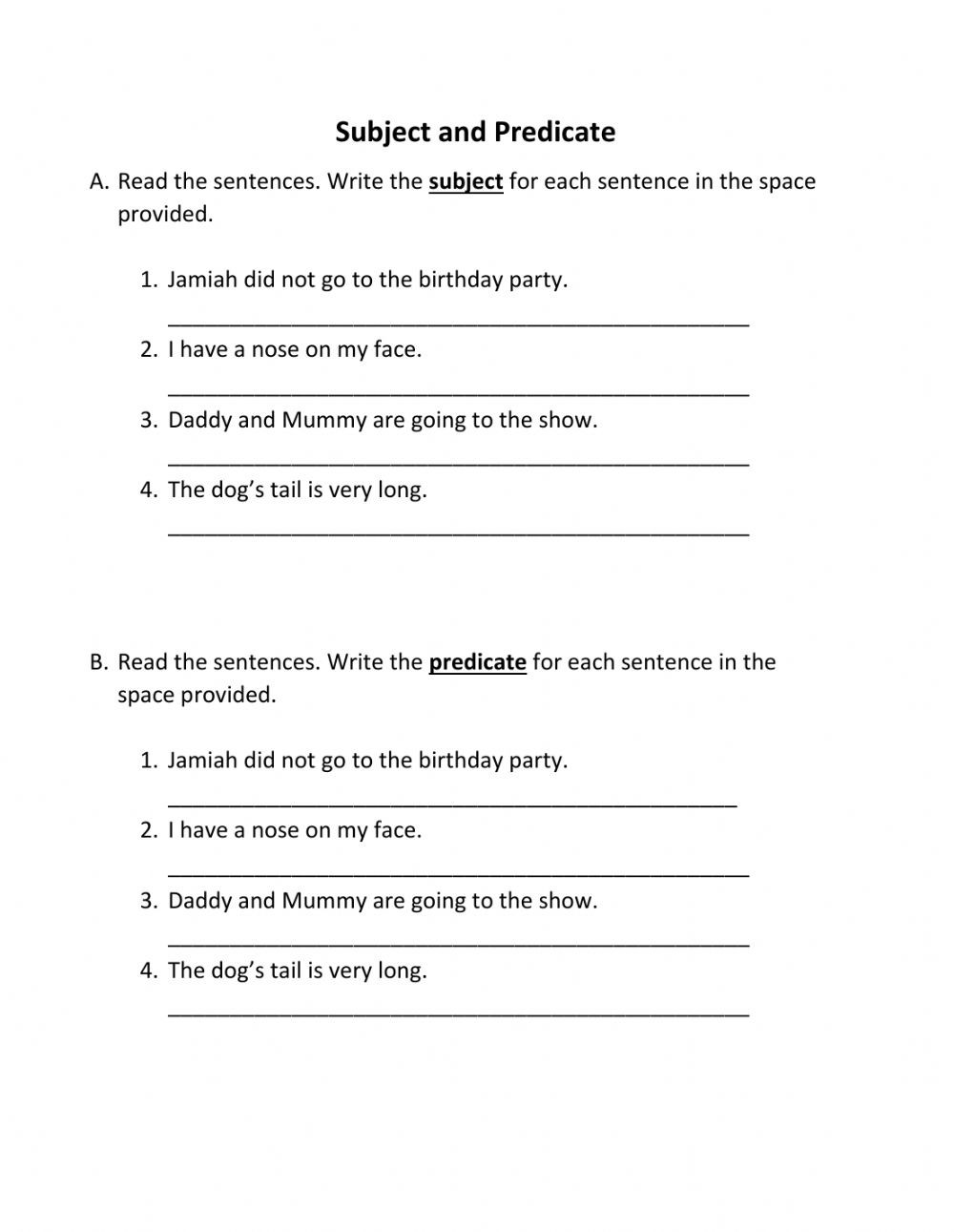Subject Predicate Worksheet Pdf Subject and Predicate Interactive Worksheet