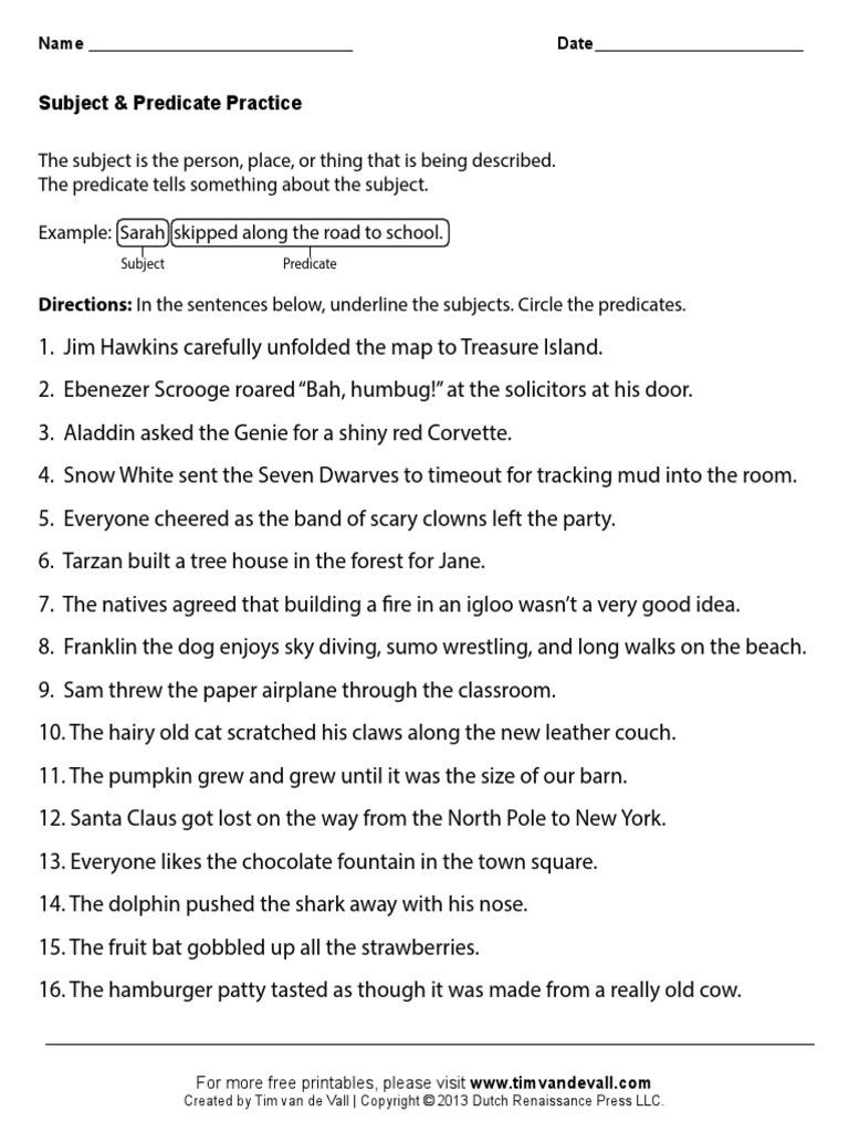 Subject Predicate Worksheet Pdf Subject Predicate Worksheets 01