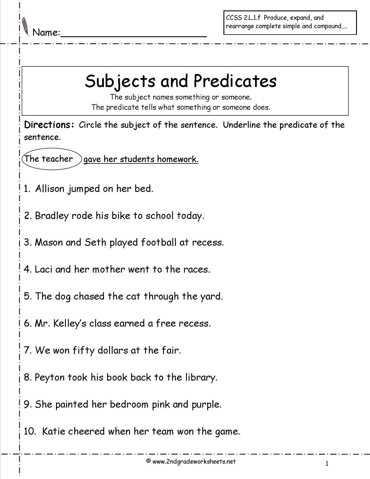 Subject Predicate Worksheet Pdf Subject Predicate Worksheets 2nd Grade Google Search