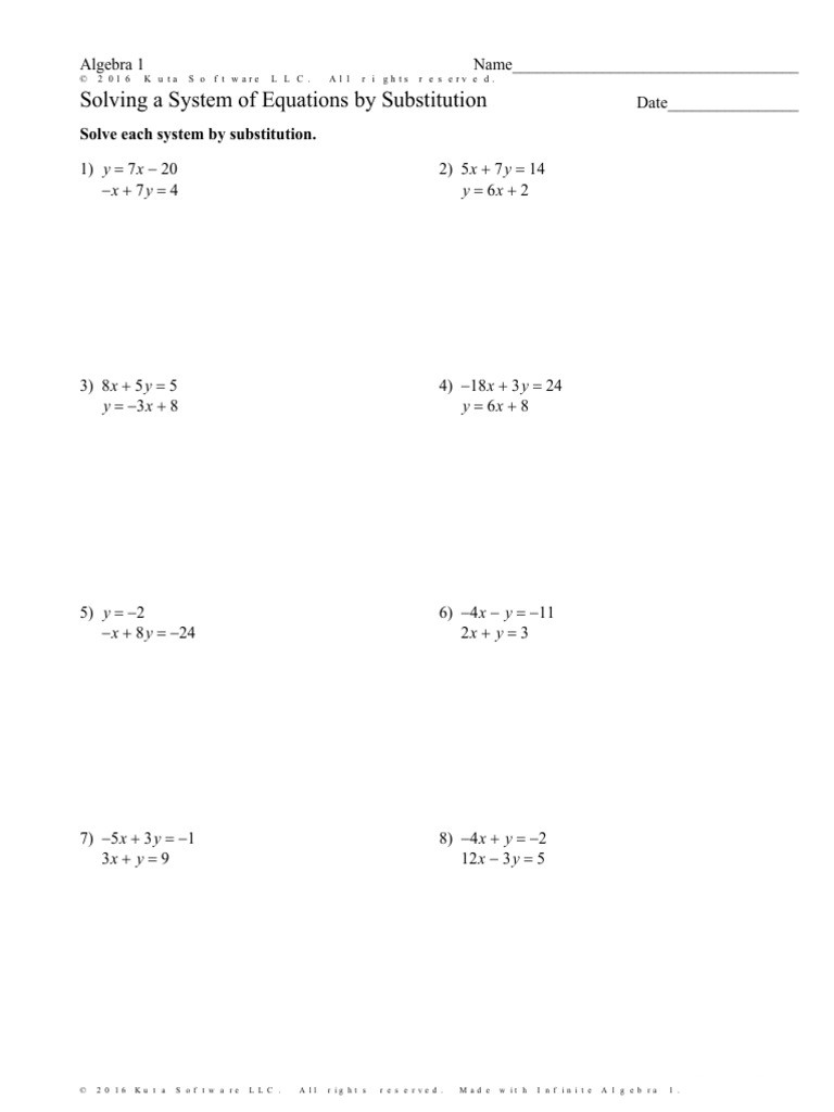 Substitution Method Worksheet Answers solving A System Of Equations by Substitution Worksheet