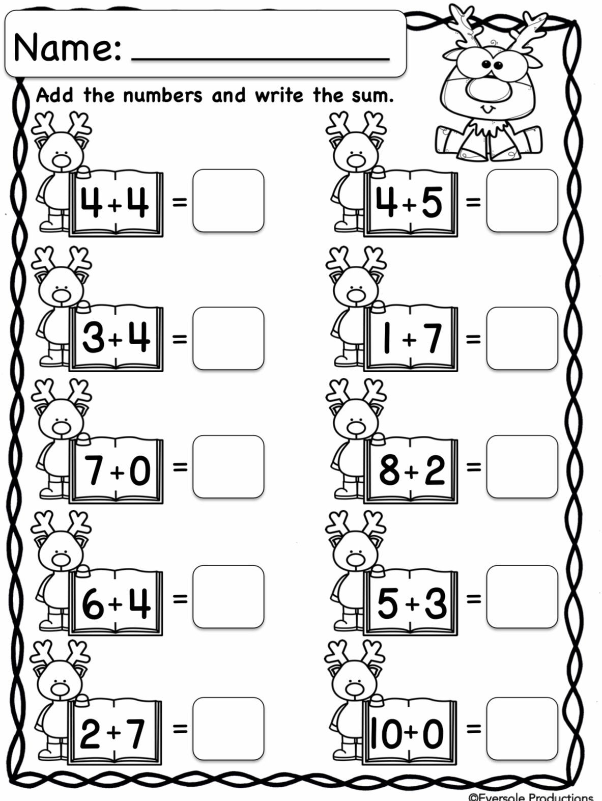 Subtraction Worksheet for Kindergarten Christmas Math Adding and Subtracting within 10 No Prep