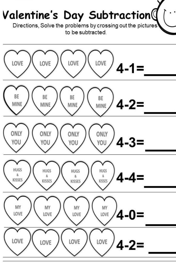 Subtraction Worksheet for Kindergarten Free Valentine S Day Subtraction Printables