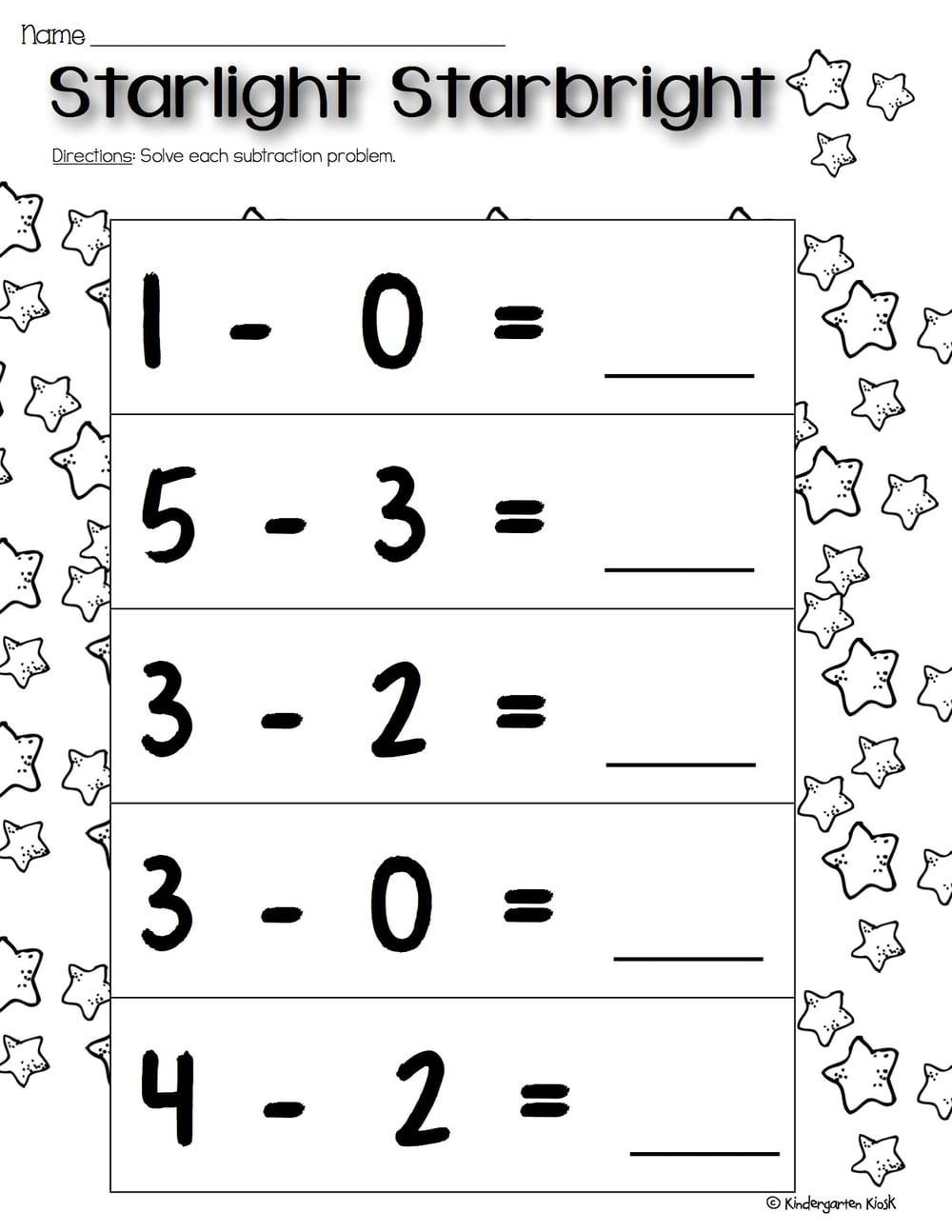 Subtraction Worksheet for Kindergarten Kindergarten Subtraction Worksheets — Kindergarten Kiosk