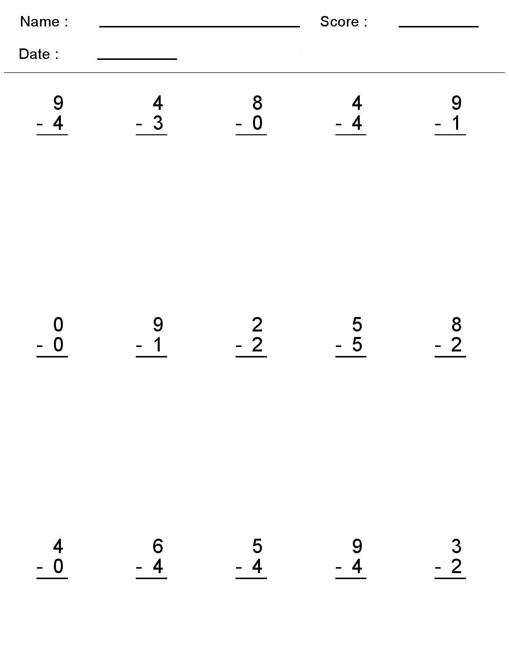 Subtraction Worksheet for Kindergarten Kindergarten Worksheets Maths Subtraction E Digit Algebra