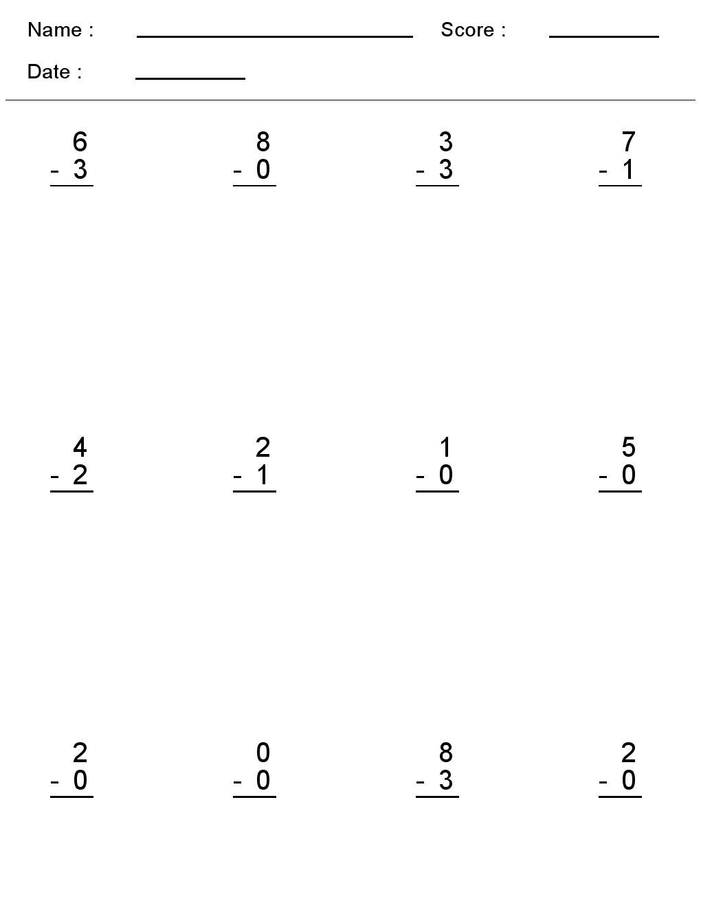 Subtraction Worksheet for Kindergarten Kindergarten Worksheets Maths Subtraction E Digit Simple