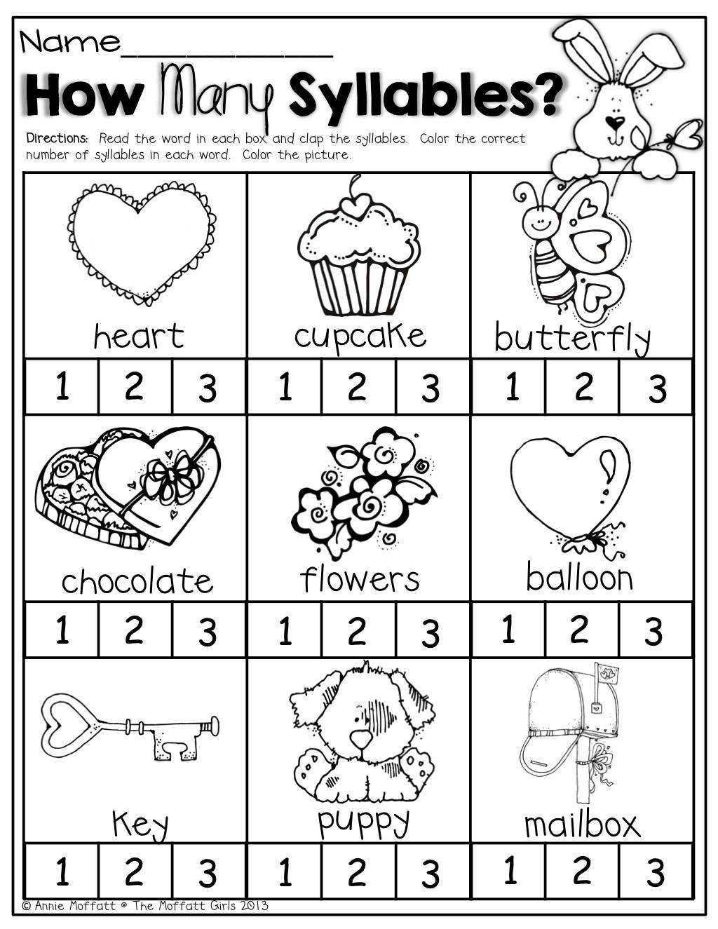 Syllables Worksheet for Kindergarten 20 Syllable Worksheets for Kindergarten