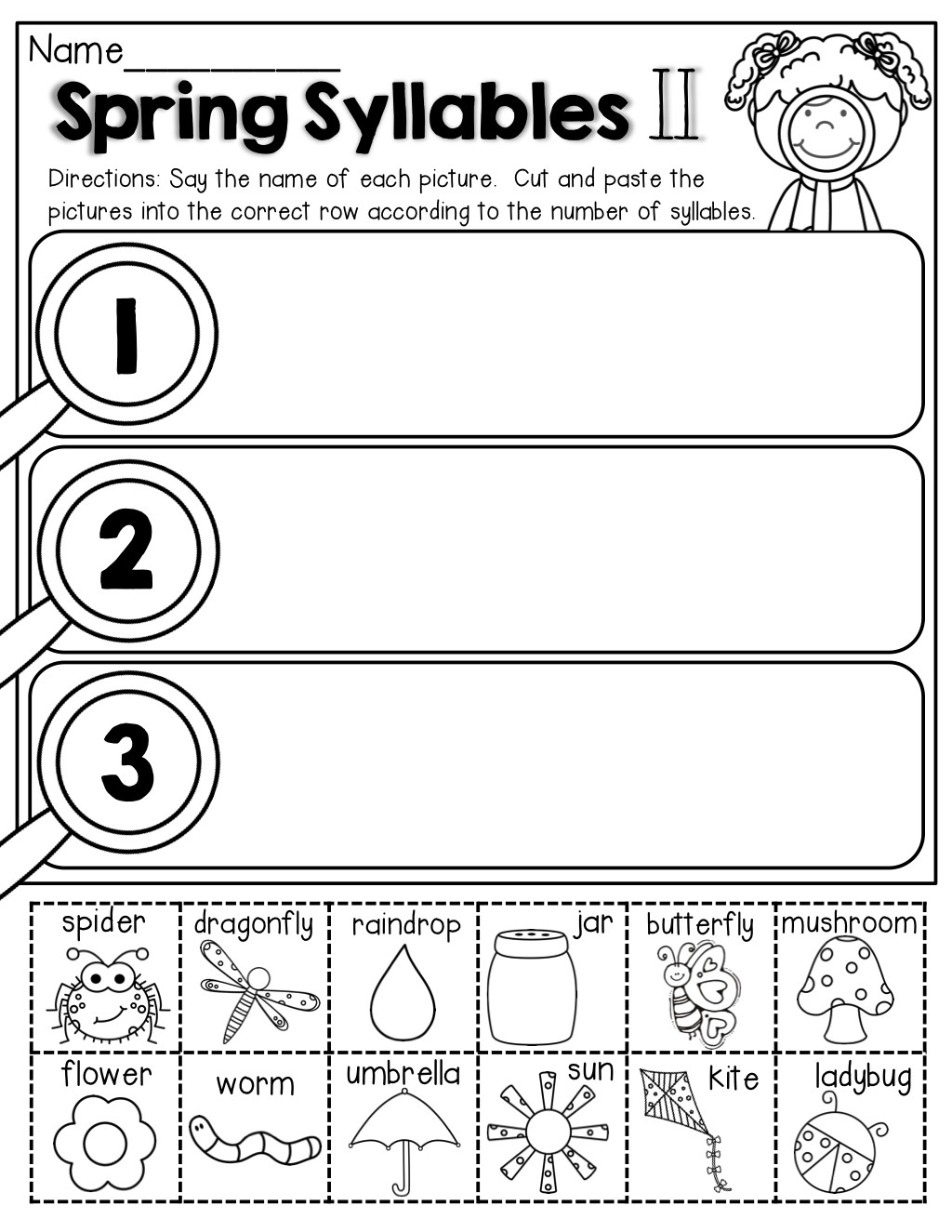 Syllables Worksheet for Kindergarten Closed Syllable Worksheets