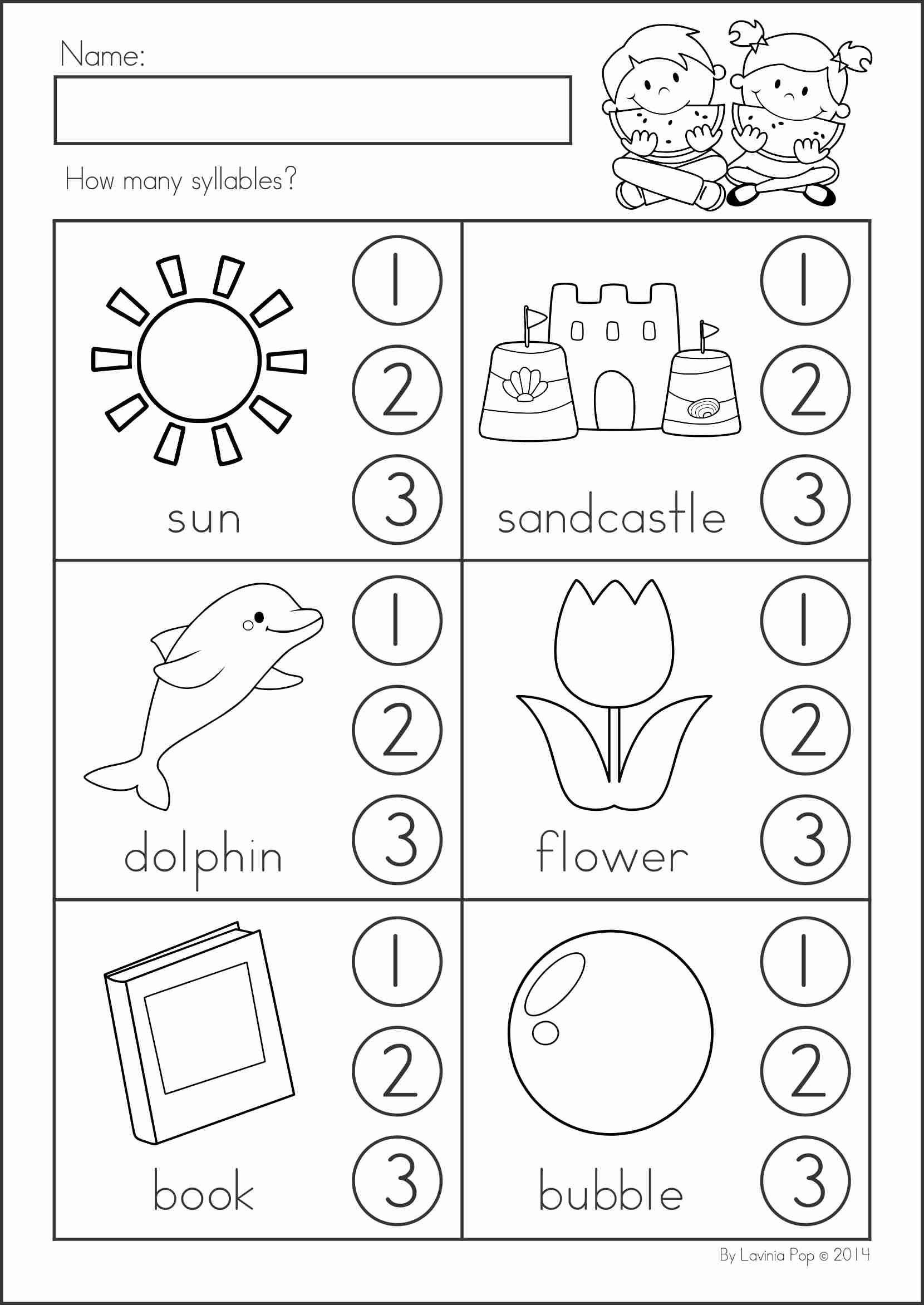 Syllables Worksheet for Kindergarten Pin by Anita Arag³n On Creatividad