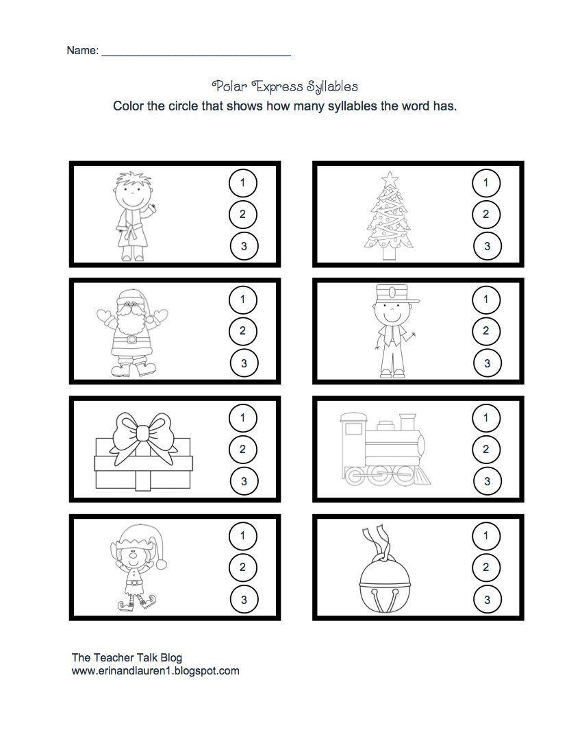 Syllables Worksheet for Kindergarten Polar Express Syllables
