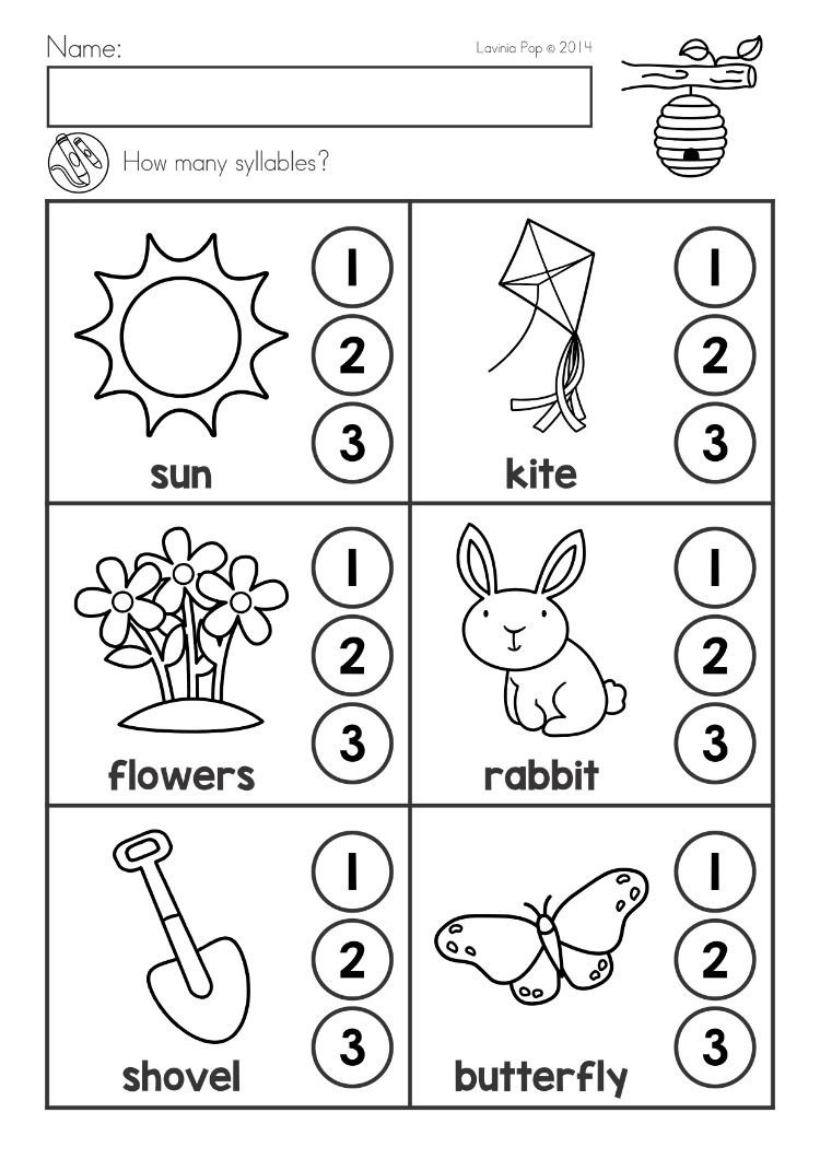 Syllables Worksheet for Kindergarten Spring Kindergarten Math and Literacy Worksheets