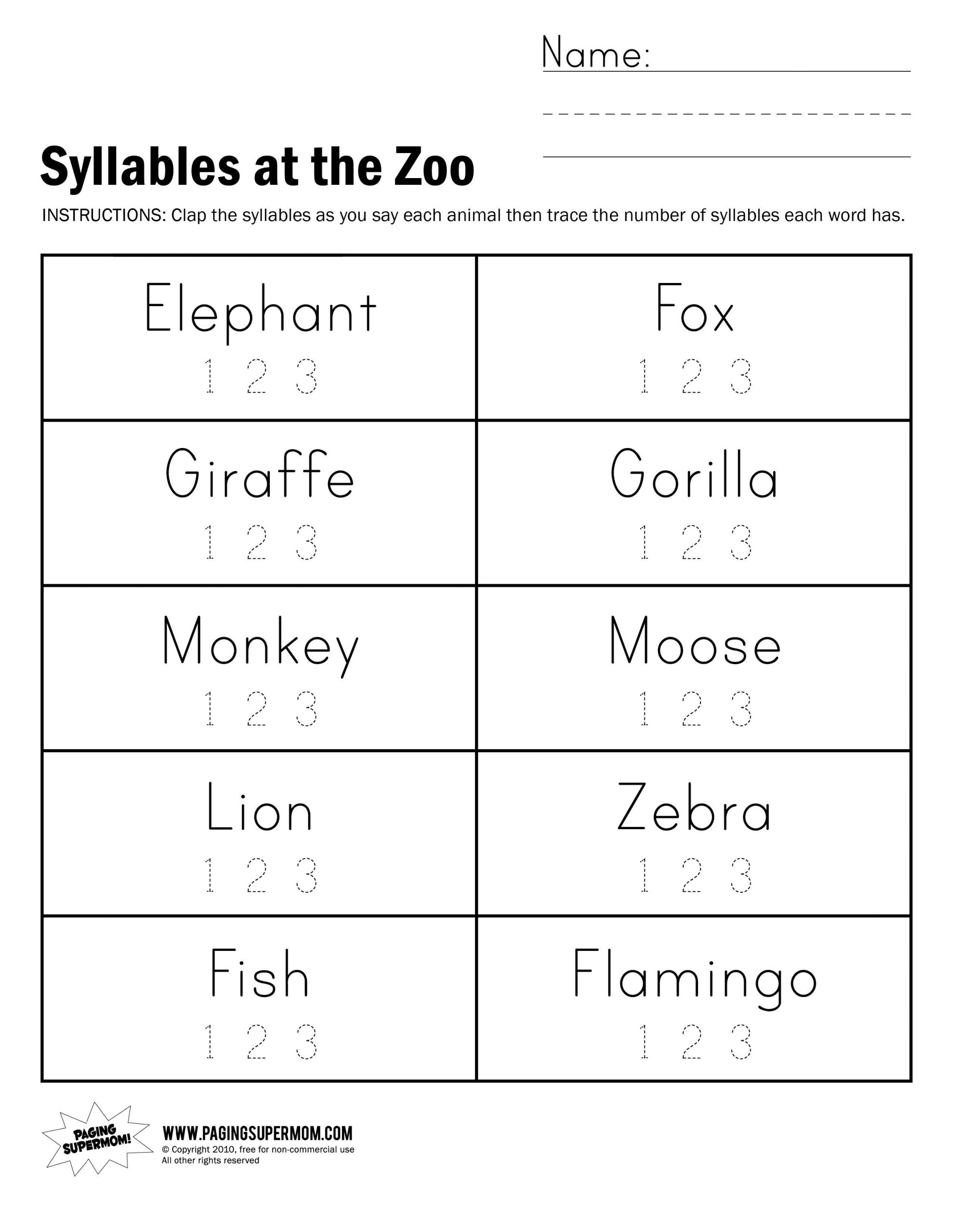Syllables Worksheet for Kindergarten Syllables at the Zoo Worksheet