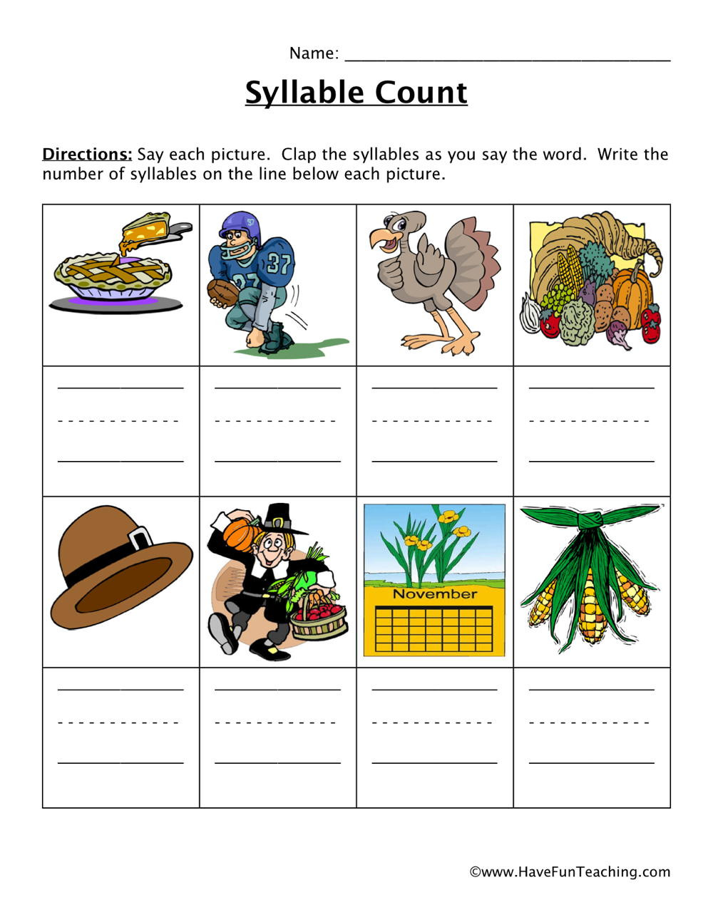 Syllables Worksheet for Kindergarten Thanksgiving Syllables Worksheet