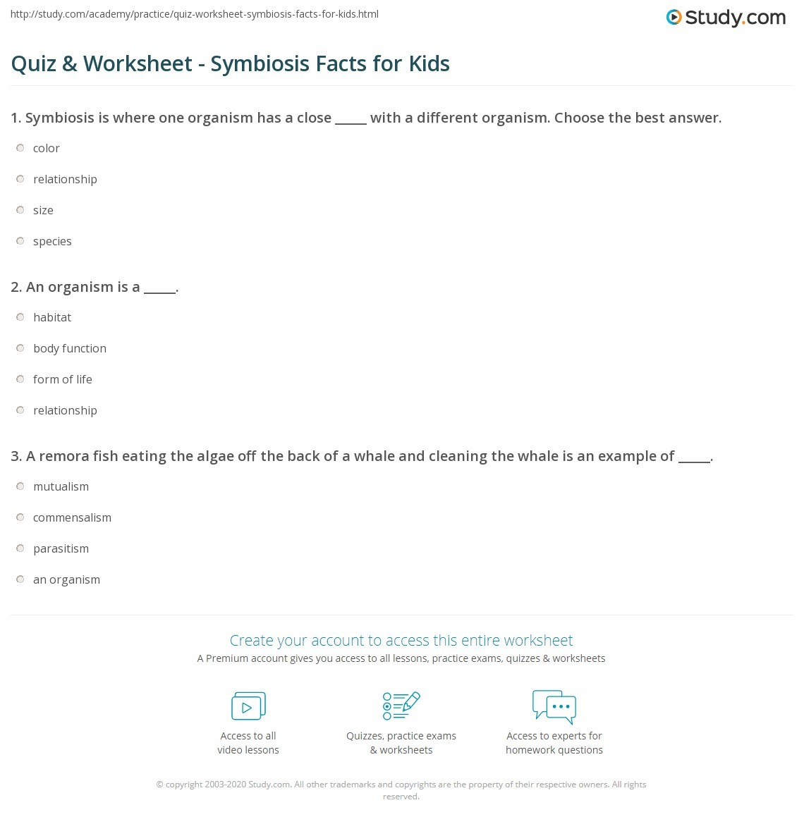 Symbiotic Relationships Worksheet Answers Quiz & Worksheet Symbiosis Facts for Kids