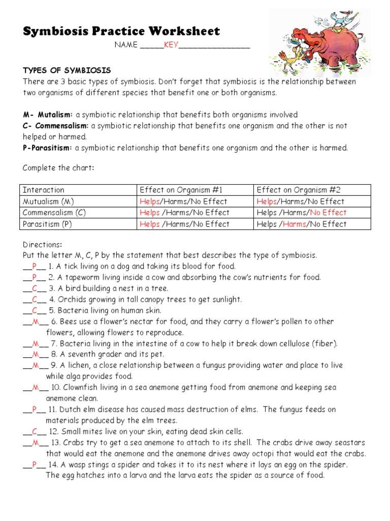 Symbiotic Relationships Worksheet Answers Symbiosis Practice Worksheet 2 Key