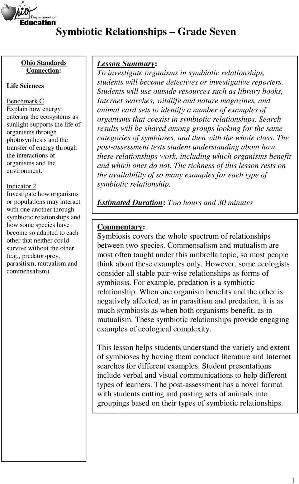 Symbiotic Relationships Worksheet Answers Symbiotic Relationships Grade Seven Pdf Free Download