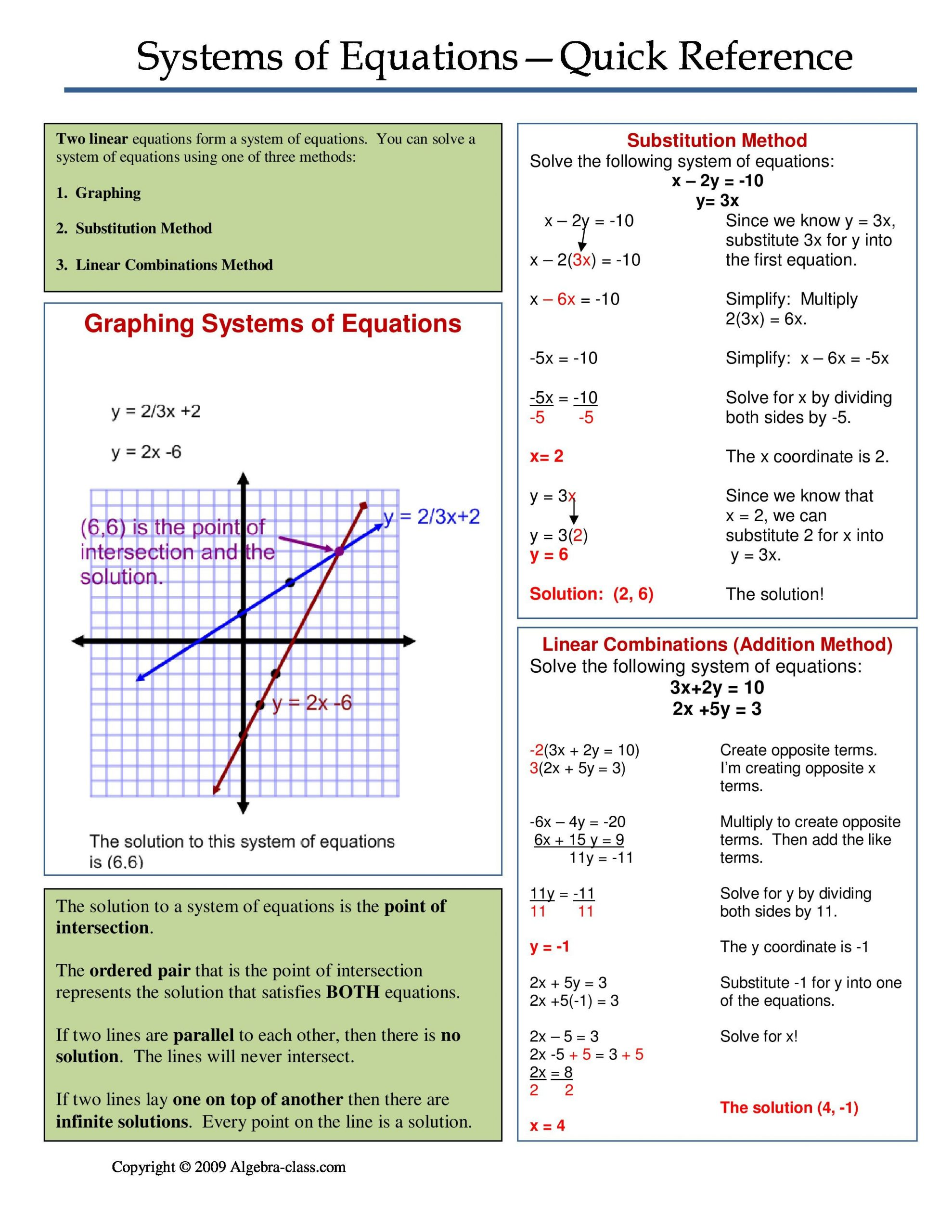Systems Of Equations Review Worksheet E Page Notes Worksheet for Systems Of Equations Unit