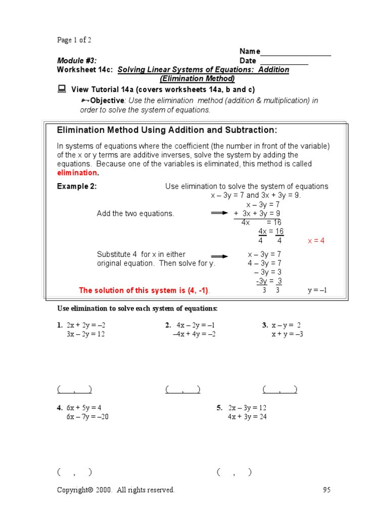 Systems Of Equations Review Worksheet Elimination Method System Linear Equations