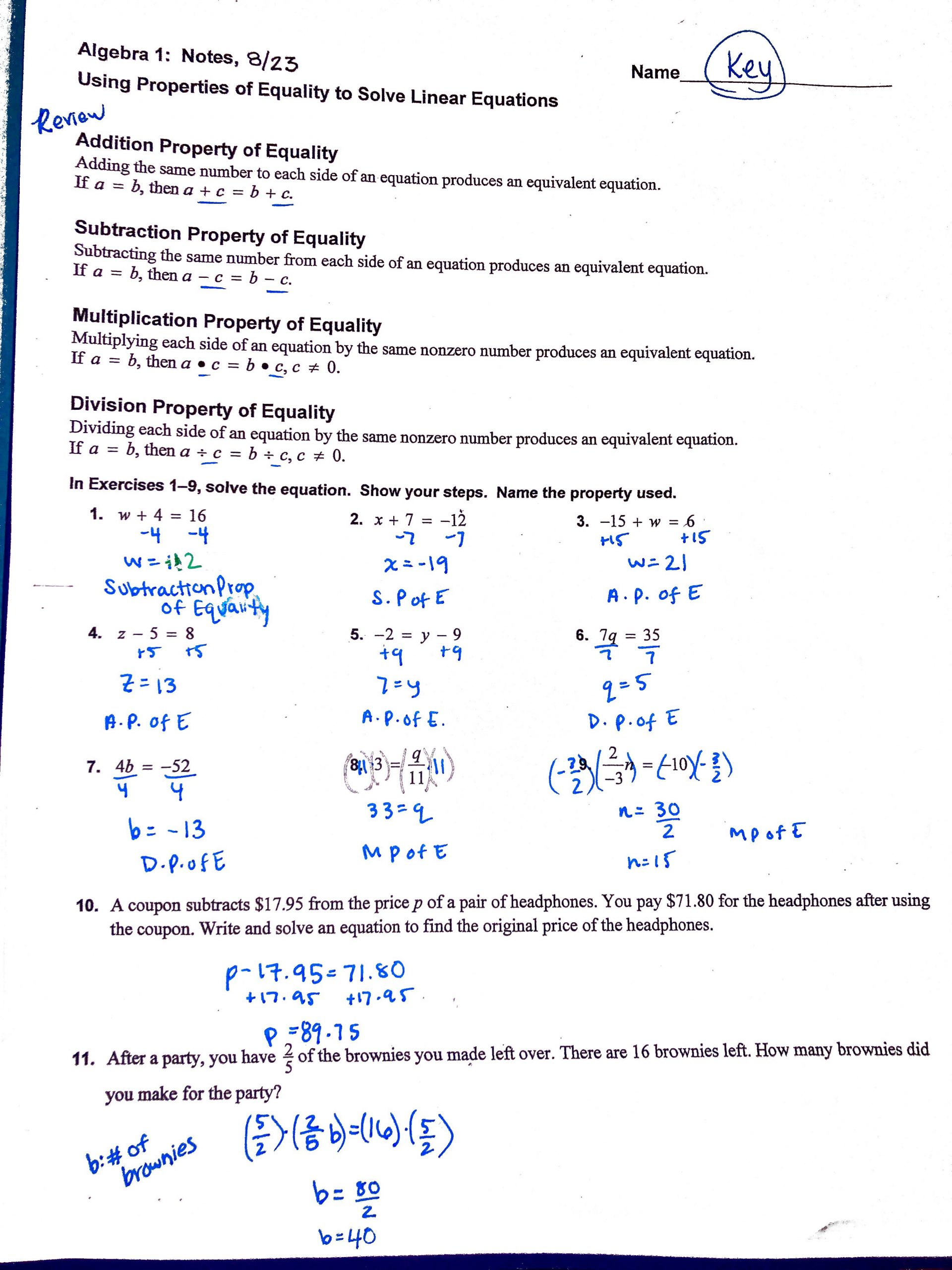 Systems Of Equations Review Worksheet Heard Grace Algebra 1
