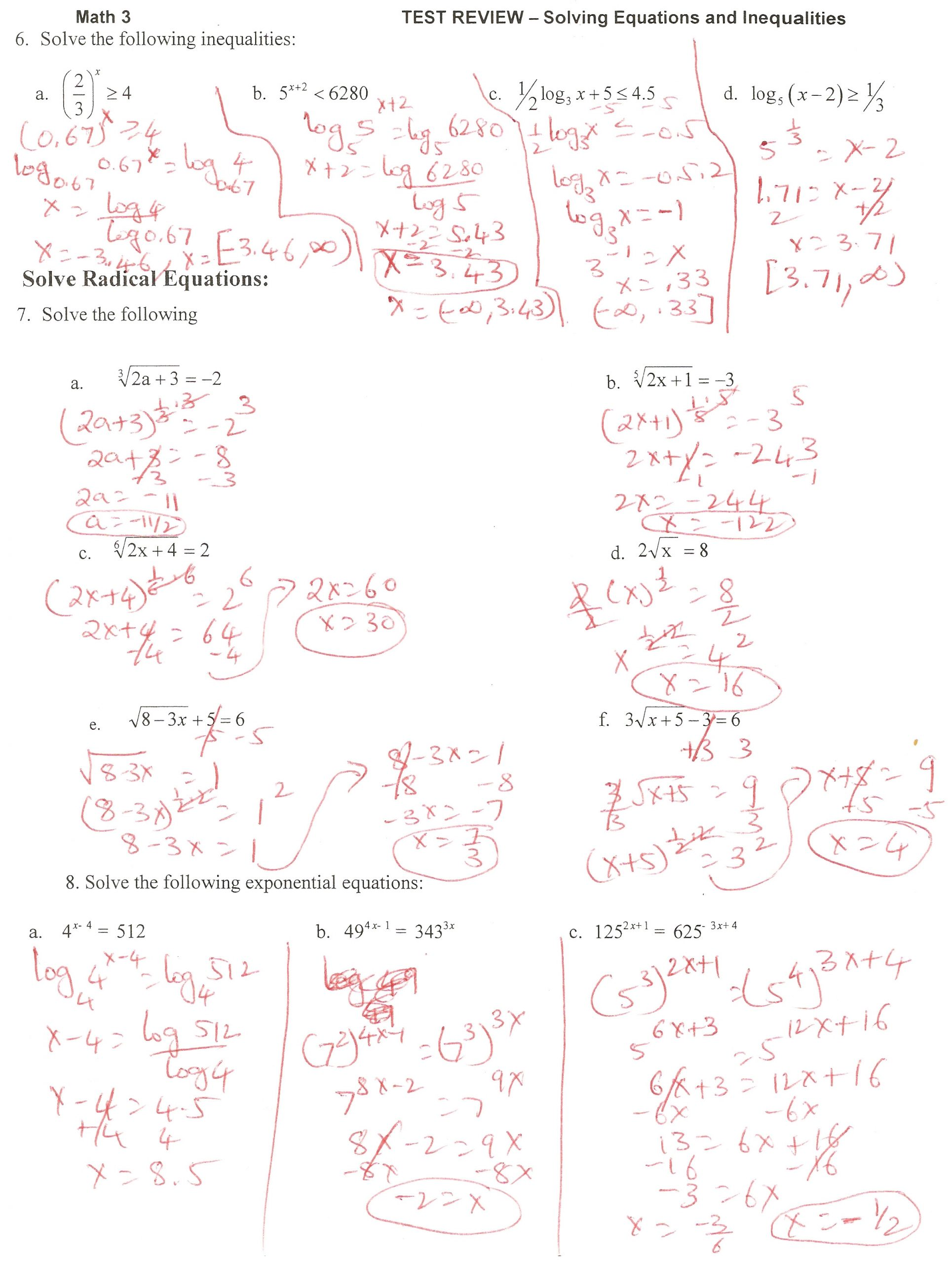 Systems Of Equations Review Worksheet solving Equations and Inequalities Review Answers Tessshebaylo