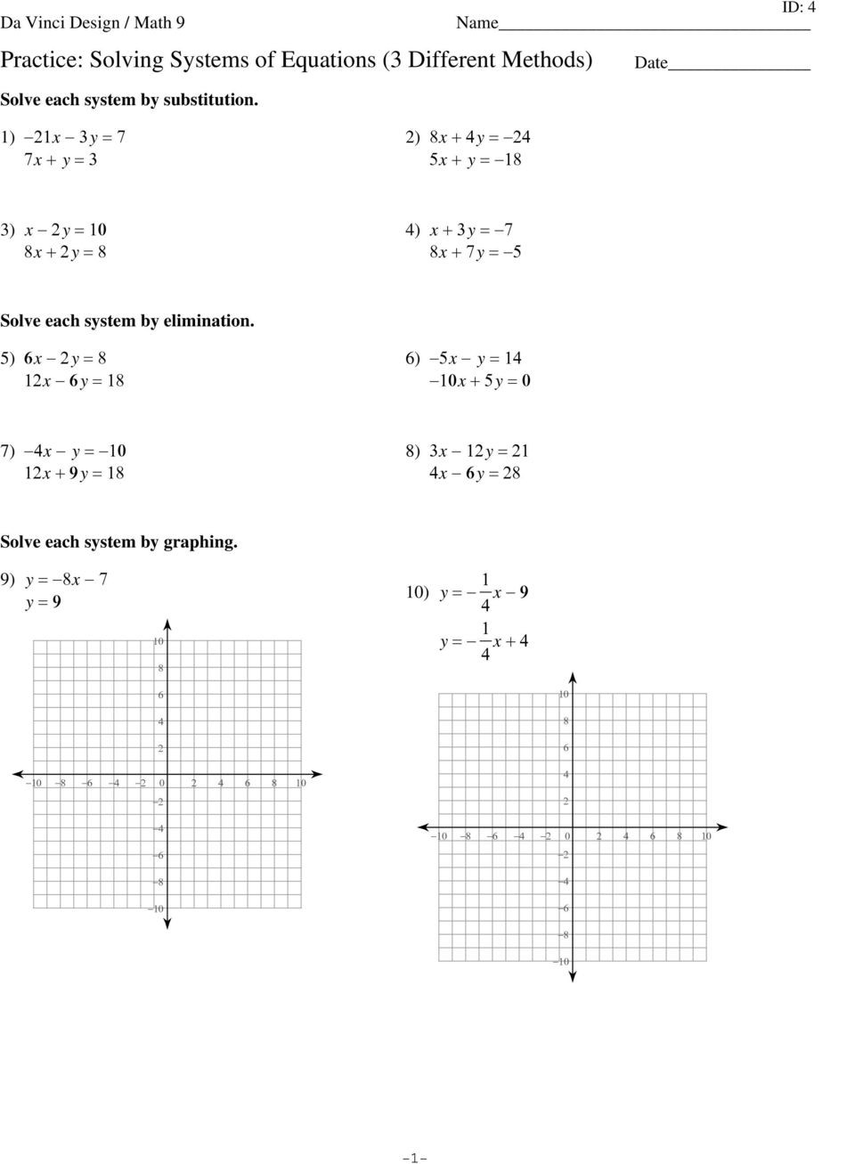 Systems Of Equations Review Worksheet Writing A System Of Equations