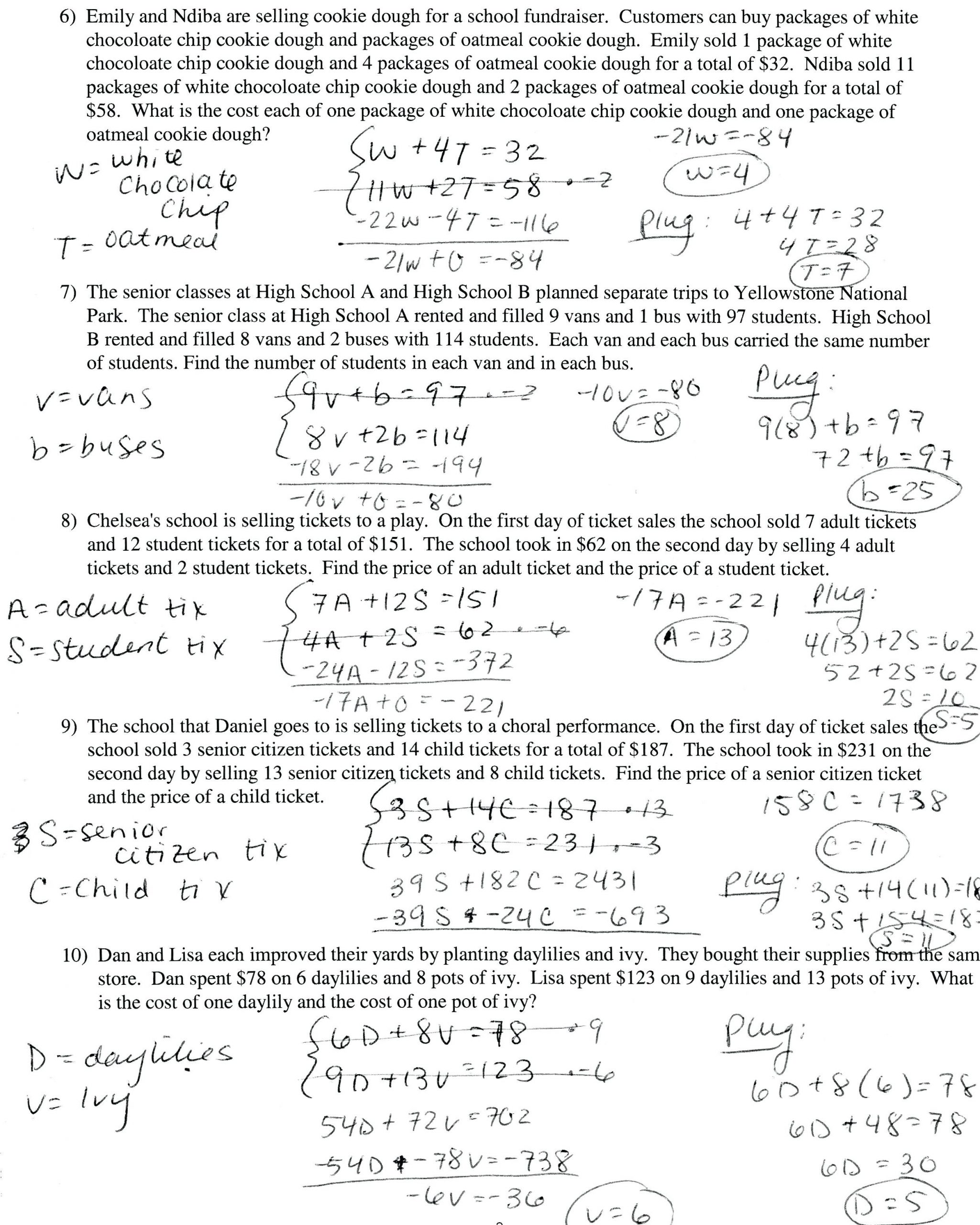Systems Of Equations Worksheet Pdf solving Equations with Variables Both Sides Word Problems